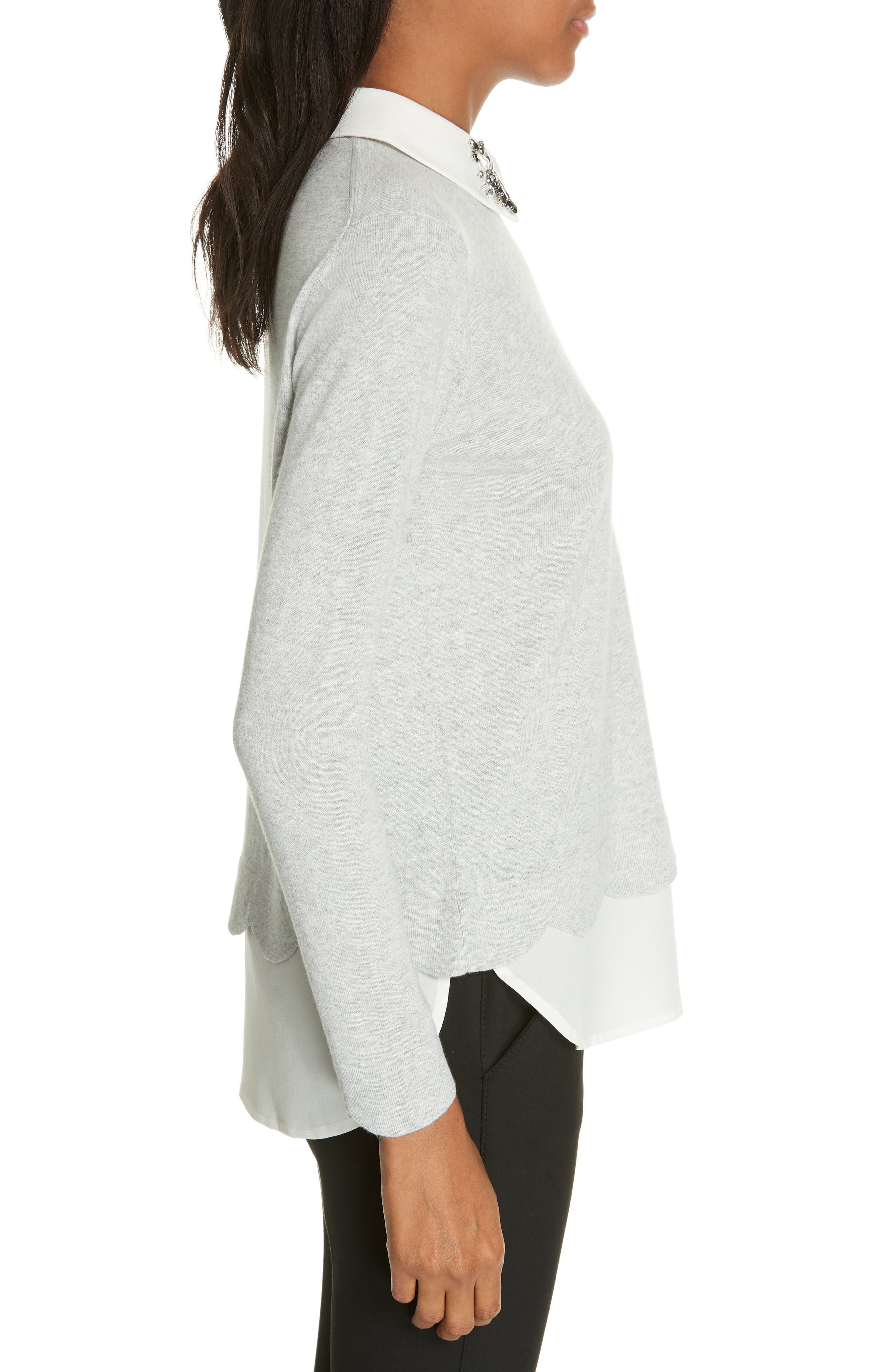 Suzaine Layered Sweater,                             Alternate thumbnail 3, color,                             GREY
