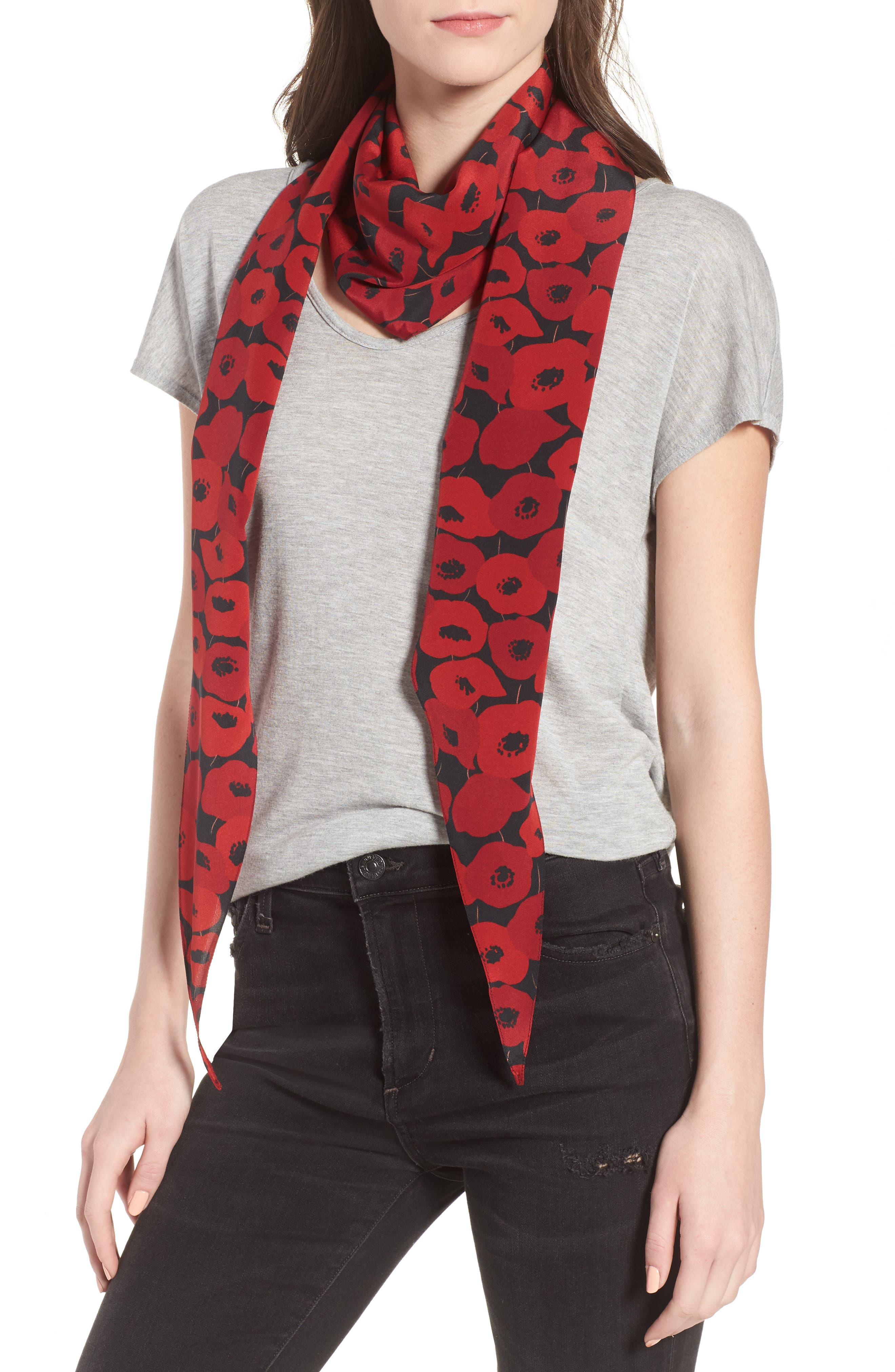 Poppy Diamond Silk Scarf,                             Alternate thumbnail 2, color,                             BLACK/ RED