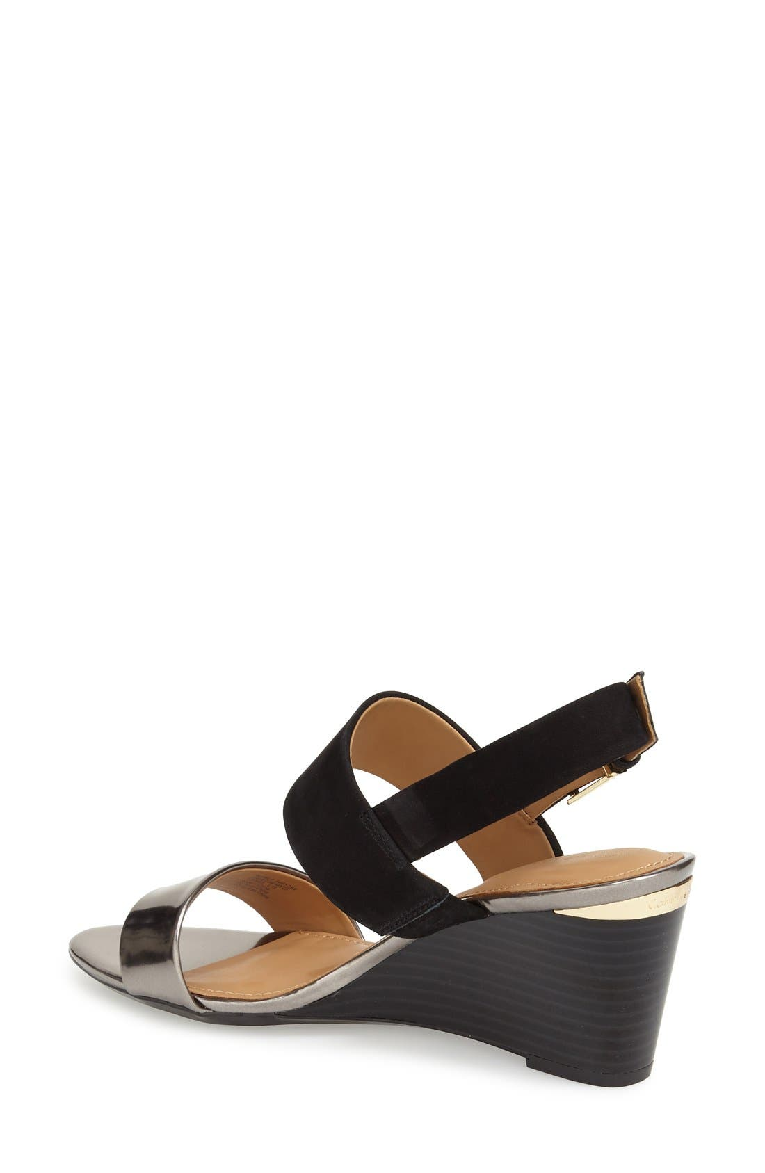 'Pearla' Wedge Sandal,                             Alternate thumbnail 3, color,                             001