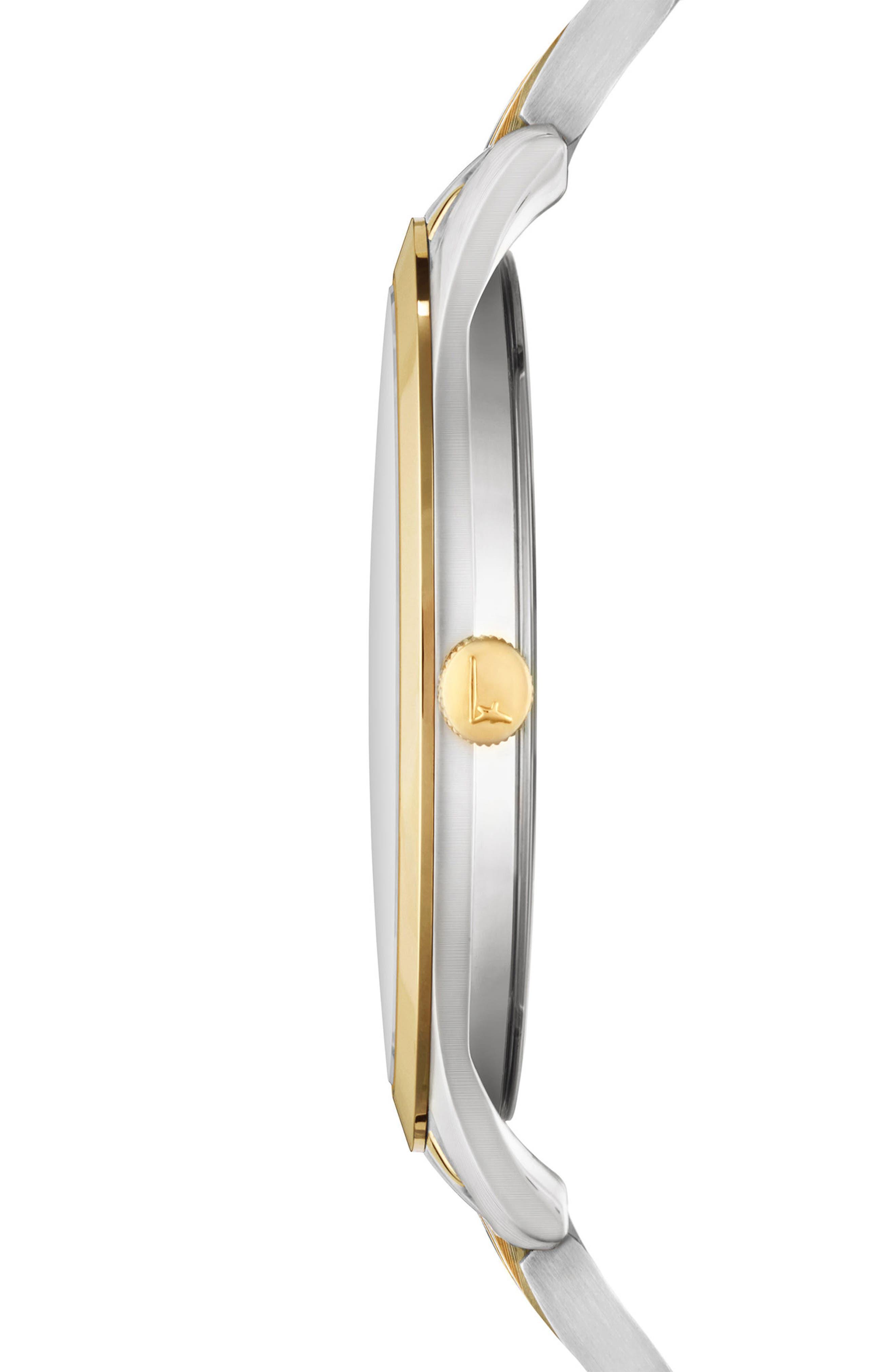 Slim Formal Bracelet Watch, 35mm,                             Alternate thumbnail 3, color,                             SILVER/ WHITE/ GOLD