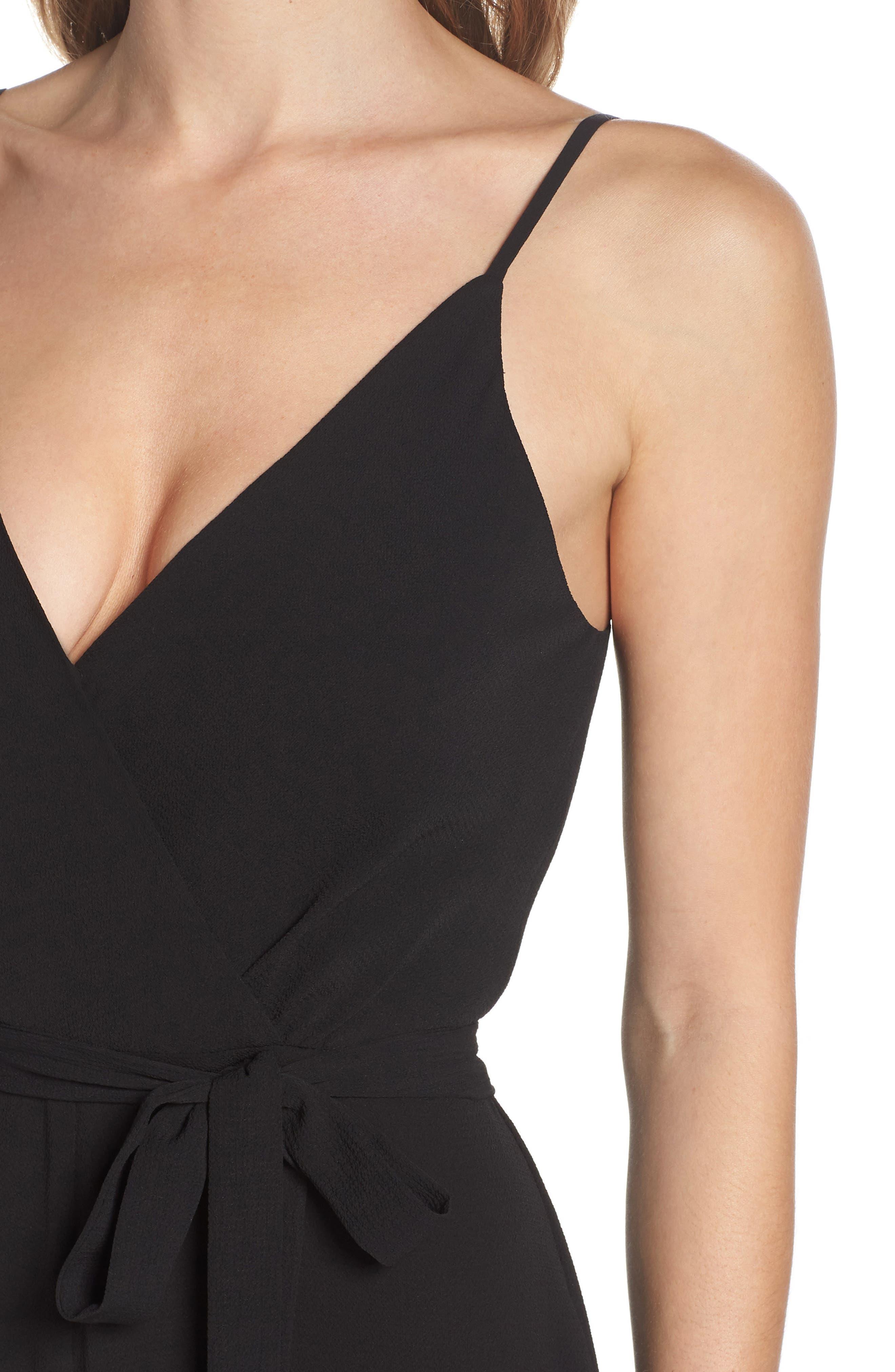 Belted Cami Jumpsuit,                             Alternate thumbnail 4, color,                             BLACK