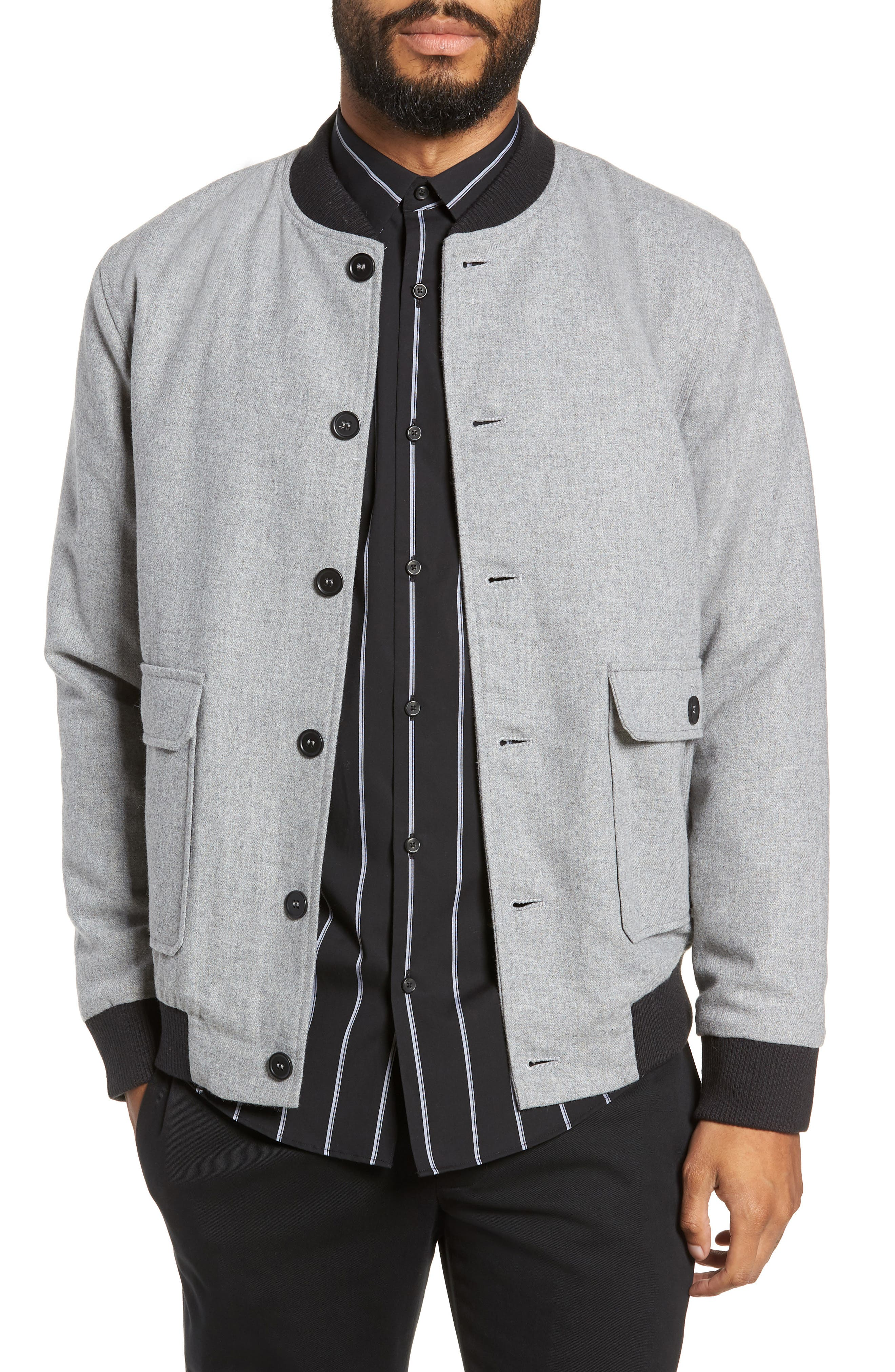 Button Front Bomber Jacket,                         Main,                         color, GREY TORNADO HEATHER