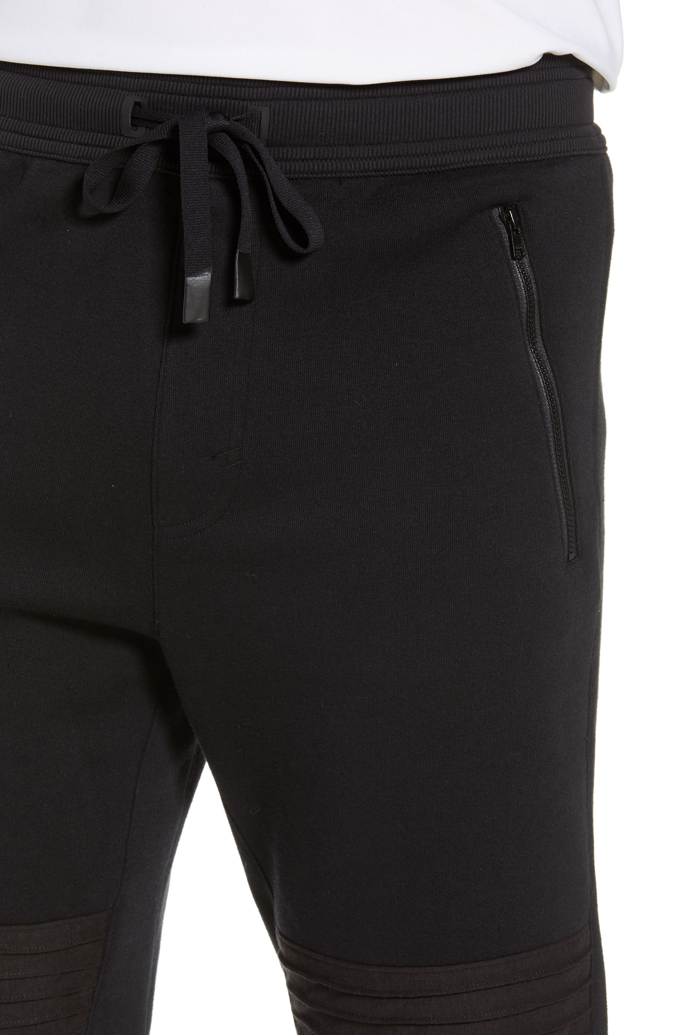 Moto Jogger Pants,                             Alternate thumbnail 4, color,                             SOLID BLACK