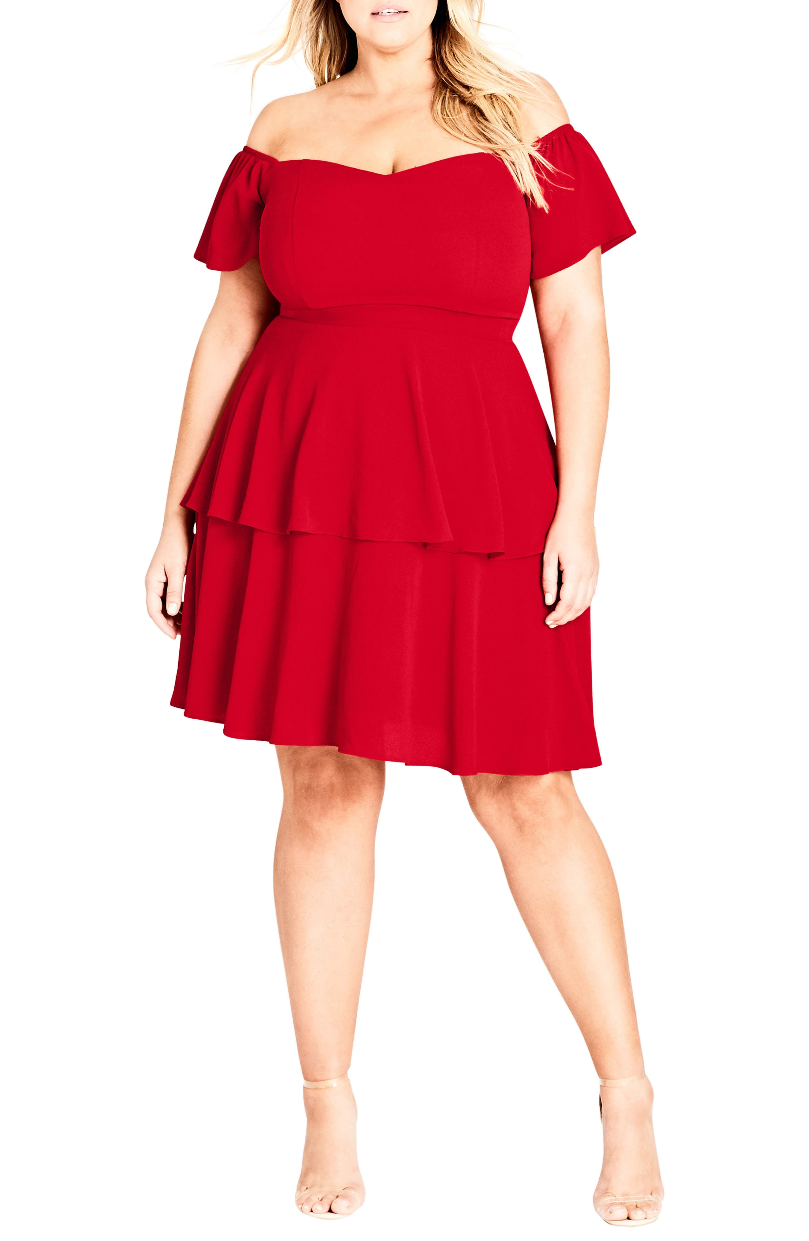 True Romance Off the Shoulder Dress,                             Main thumbnail 1, color,                             RED