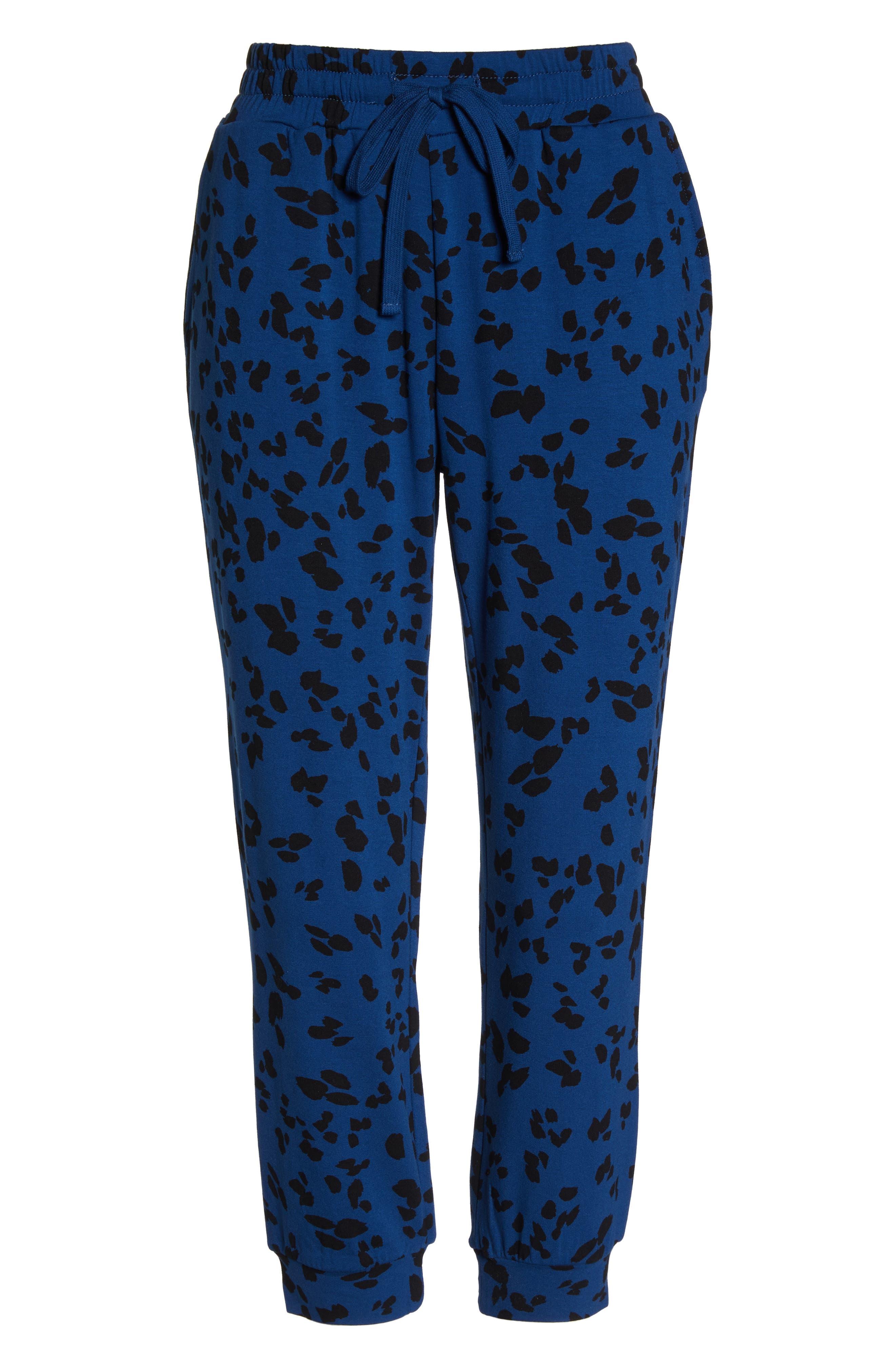 Totally Trending Leopard Print Jogger Pants,                             Alternate thumbnail 6, color,                             MARINE