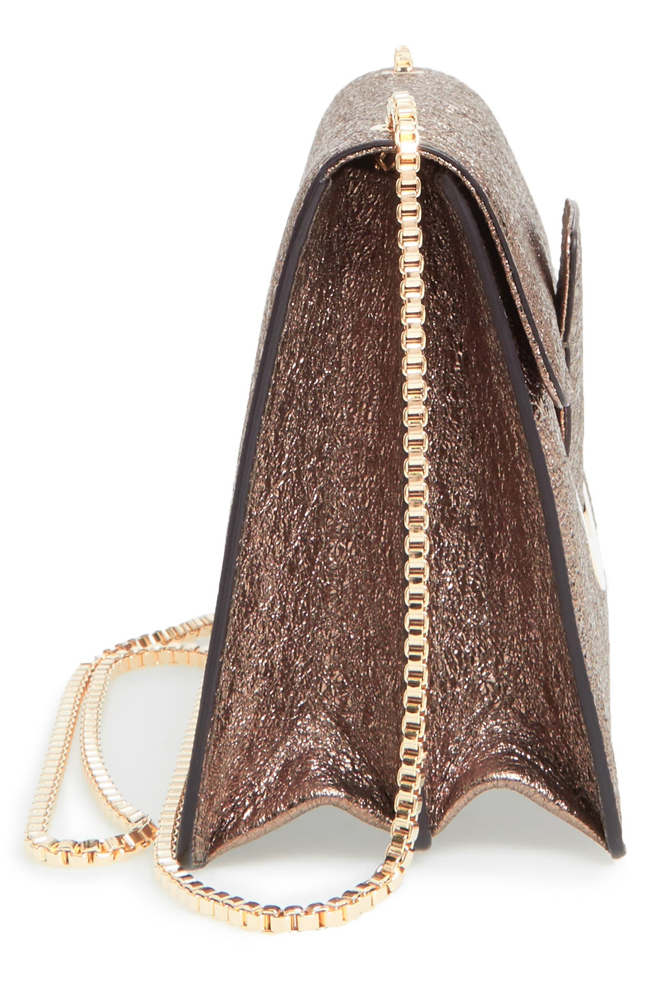 Small Metallic Leather Chain Shoulder Bag,                             Alternate thumbnail 5, color,