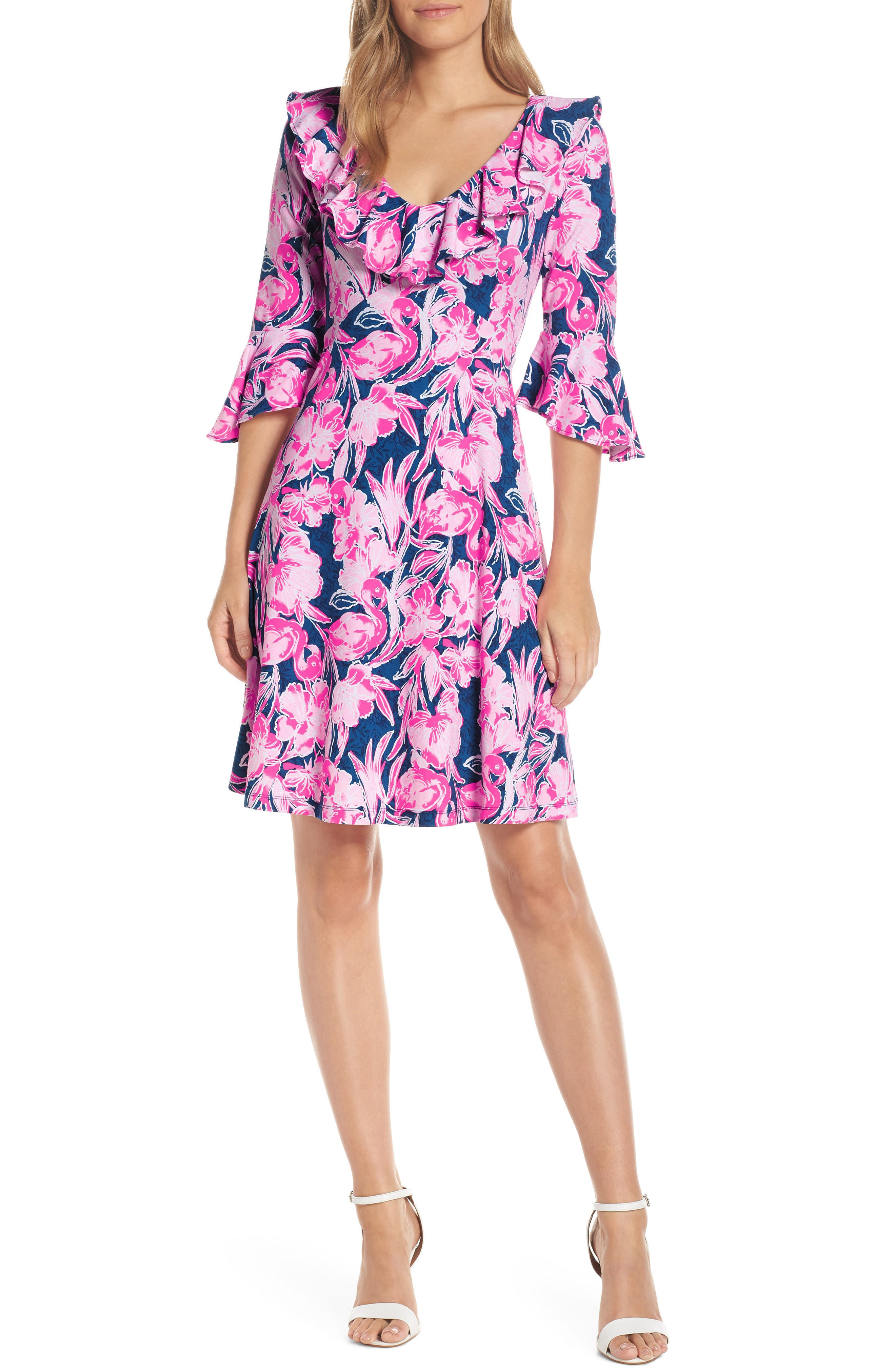Lilly Pulitzer Stirling Floral Ruffle Dress, Blue
