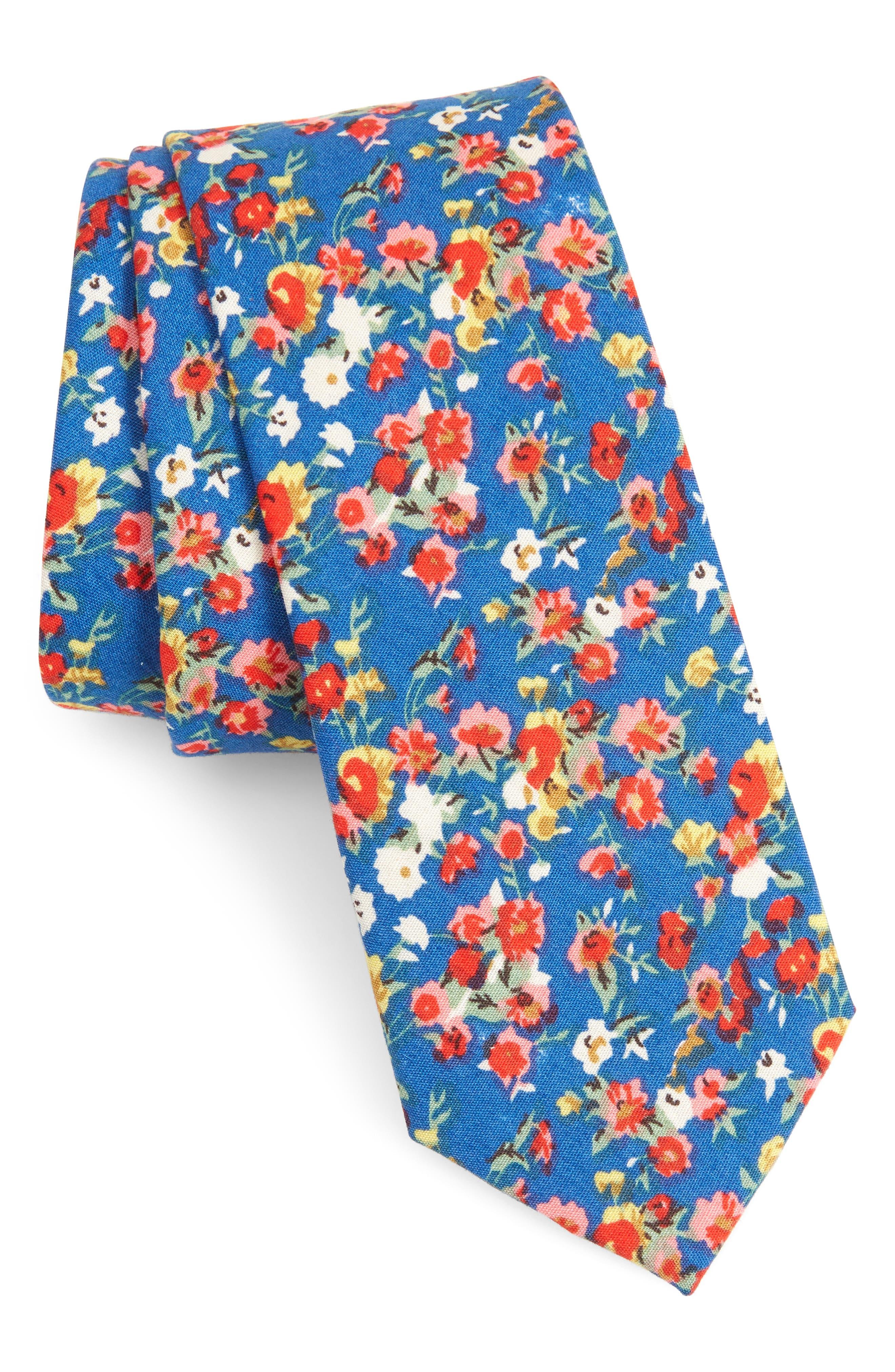 Ager Floral Cotton Tie,                             Main thumbnail 1, color,                             NAVY