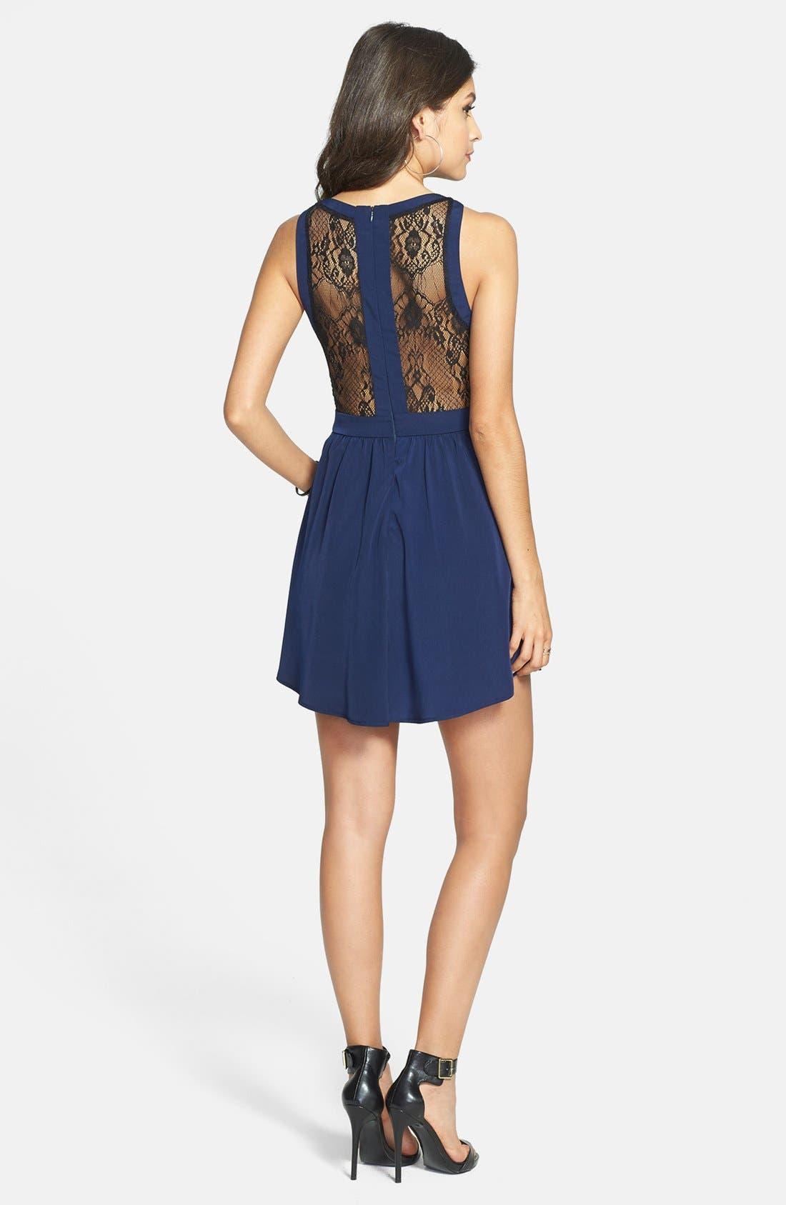 Lace Inset Skater Dress,                             Alternate thumbnail 2, color,                             400