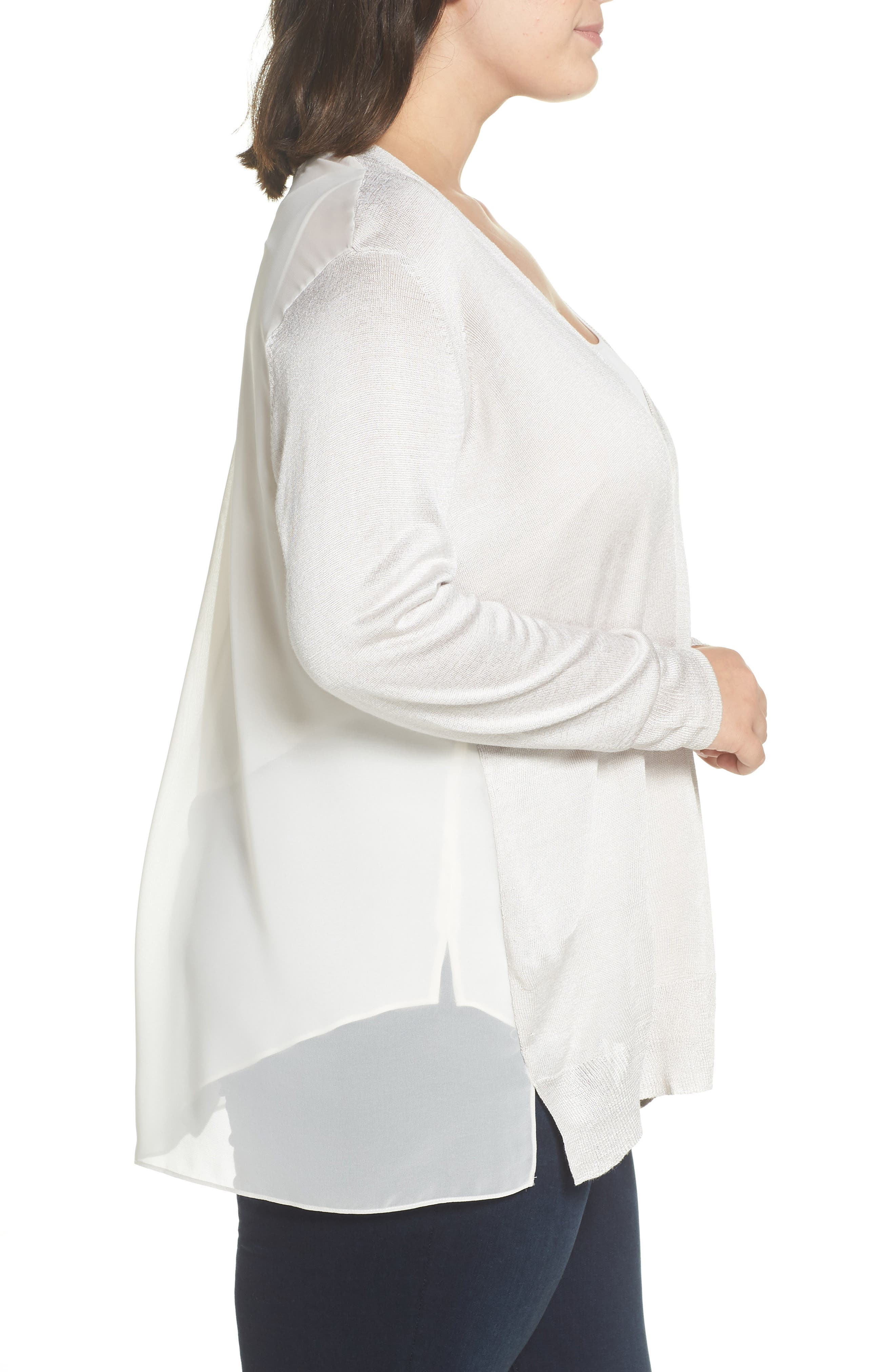 NIC+ZOE,                             Chiffon Back Cardigan,                             Alternate thumbnail 3, color,                             POWDER