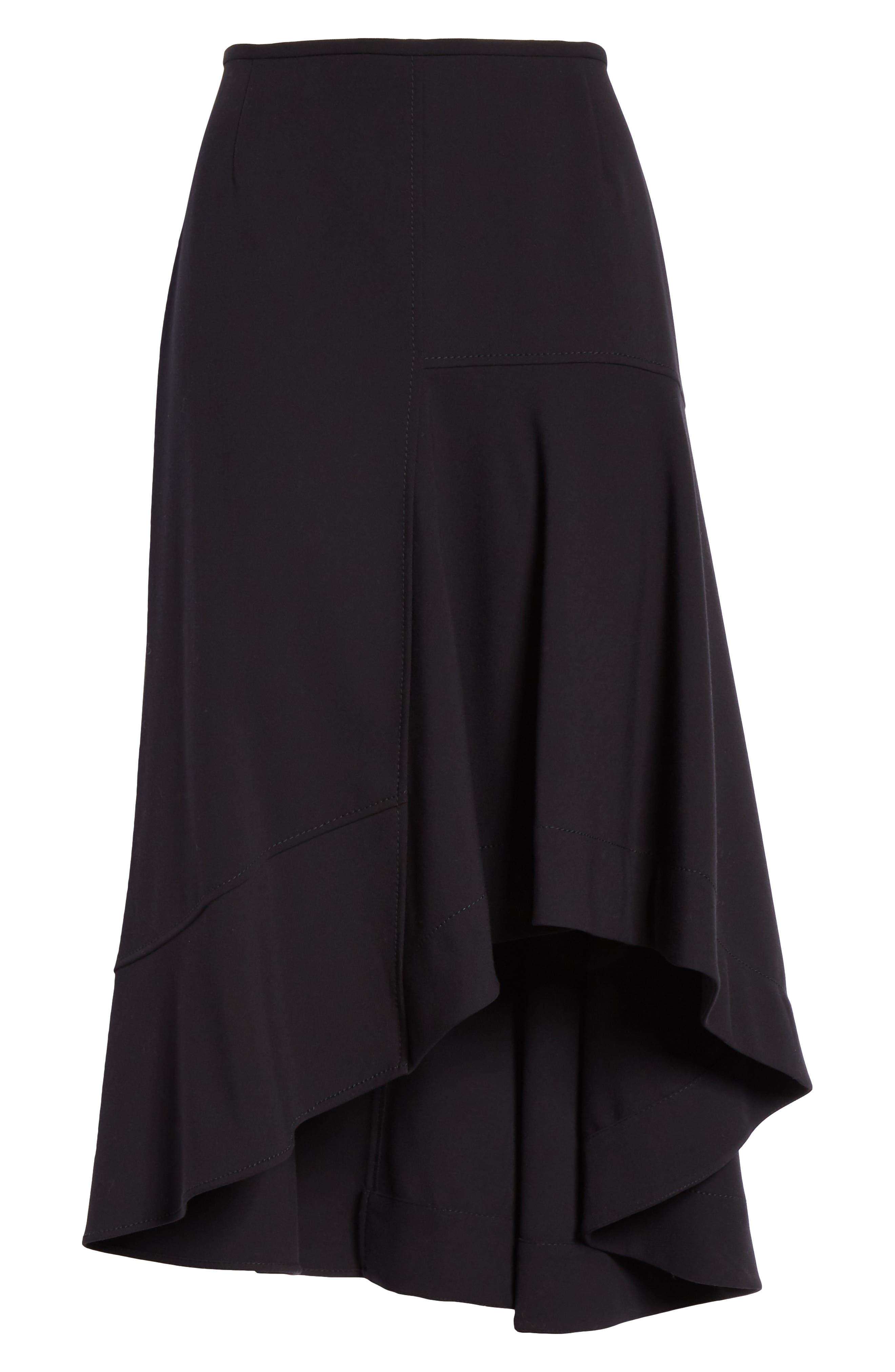 Melepia Asymmetrical Faux Wrap Skirt,                             Alternate thumbnail 6, color,                             NAVY