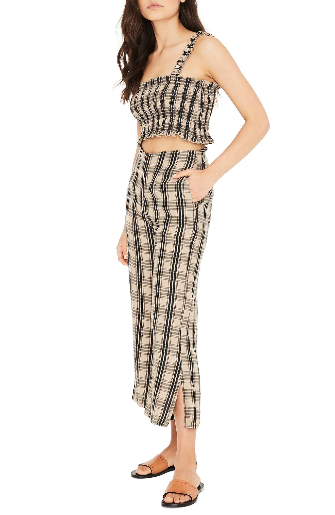 Carmen Plaid Crop Flare Pants,                             Alternate thumbnail 7, color,                             HILLARY PRINT