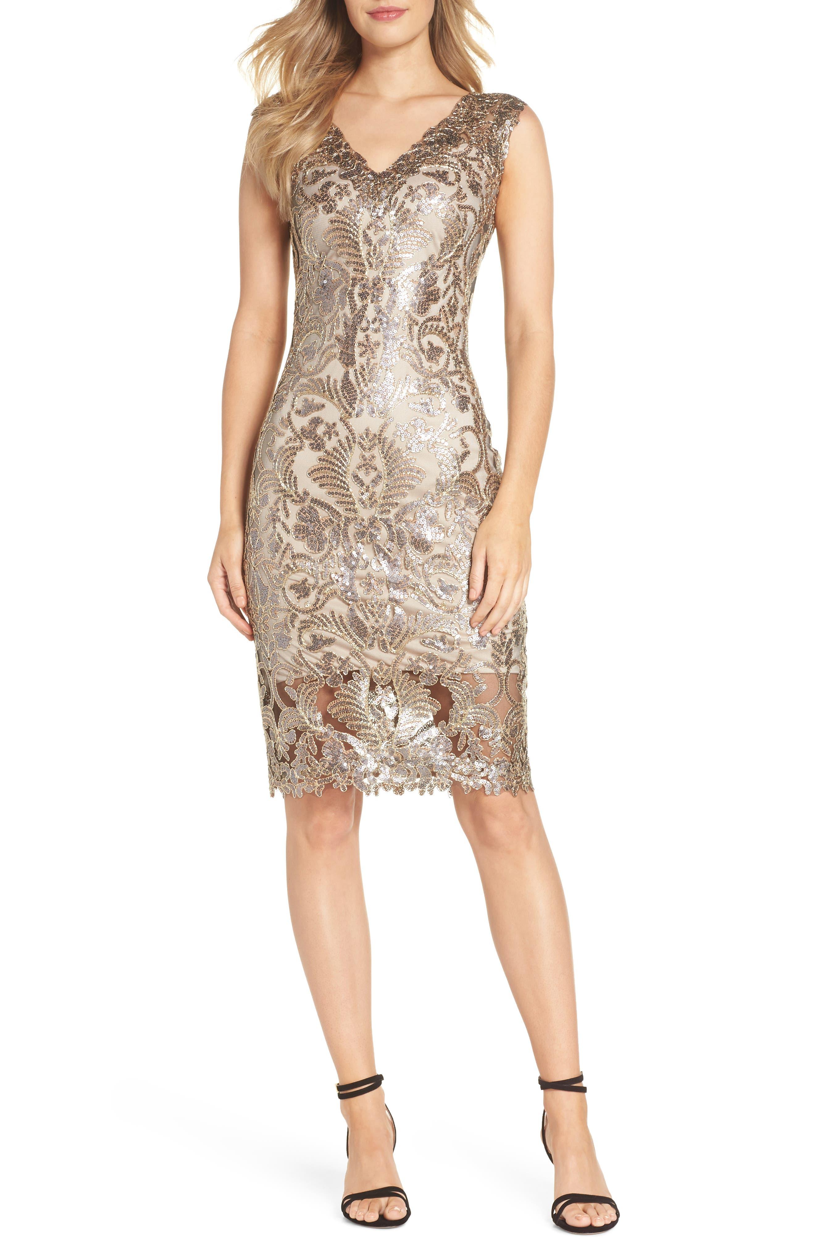 Sequin & Lace Sheath Dress,                             Main thumbnail 1, color,                             COPPER SHADOW