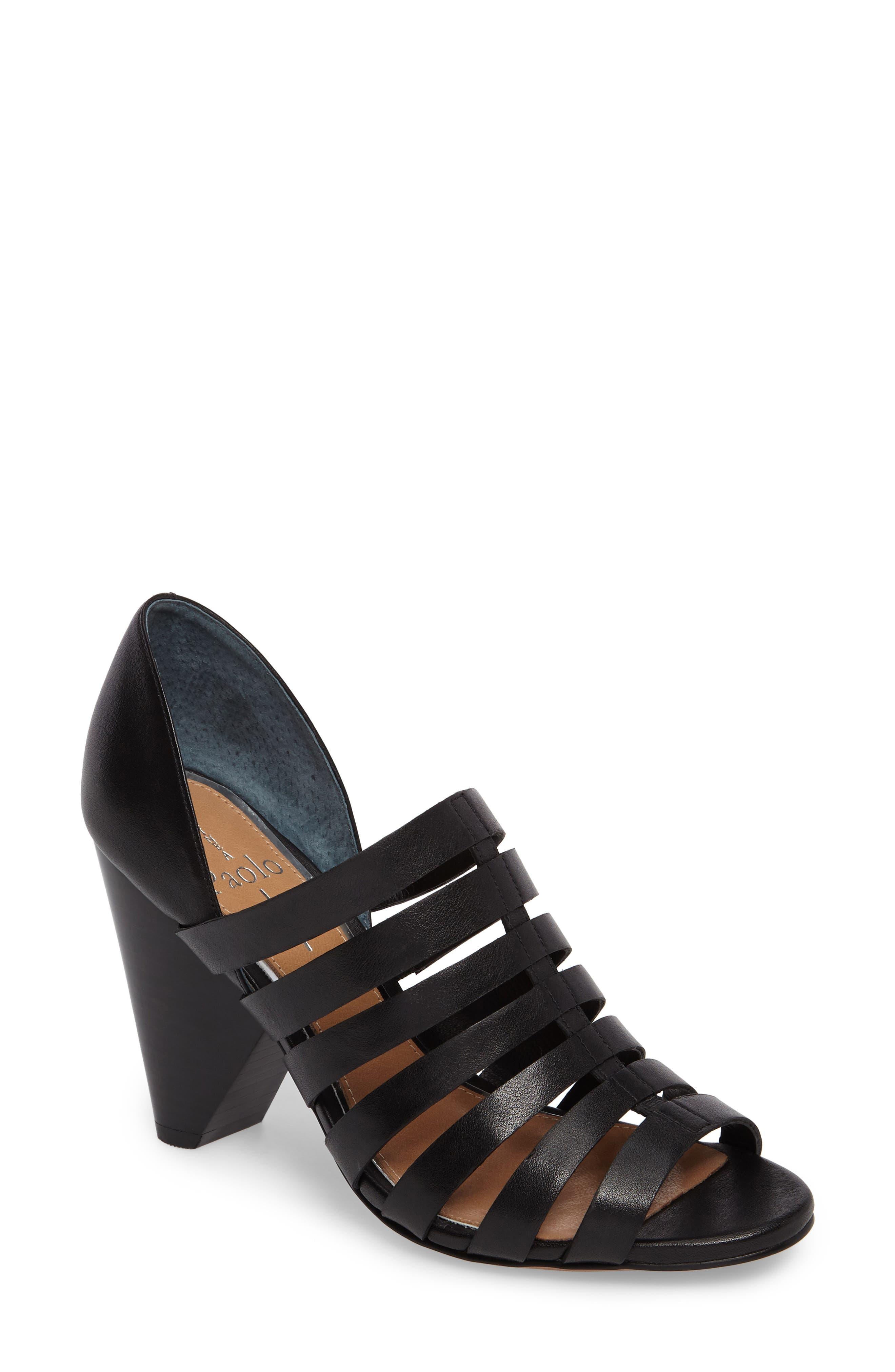 Pierce Chisel Heel Cage Sandal,                         Main,                         color, 004