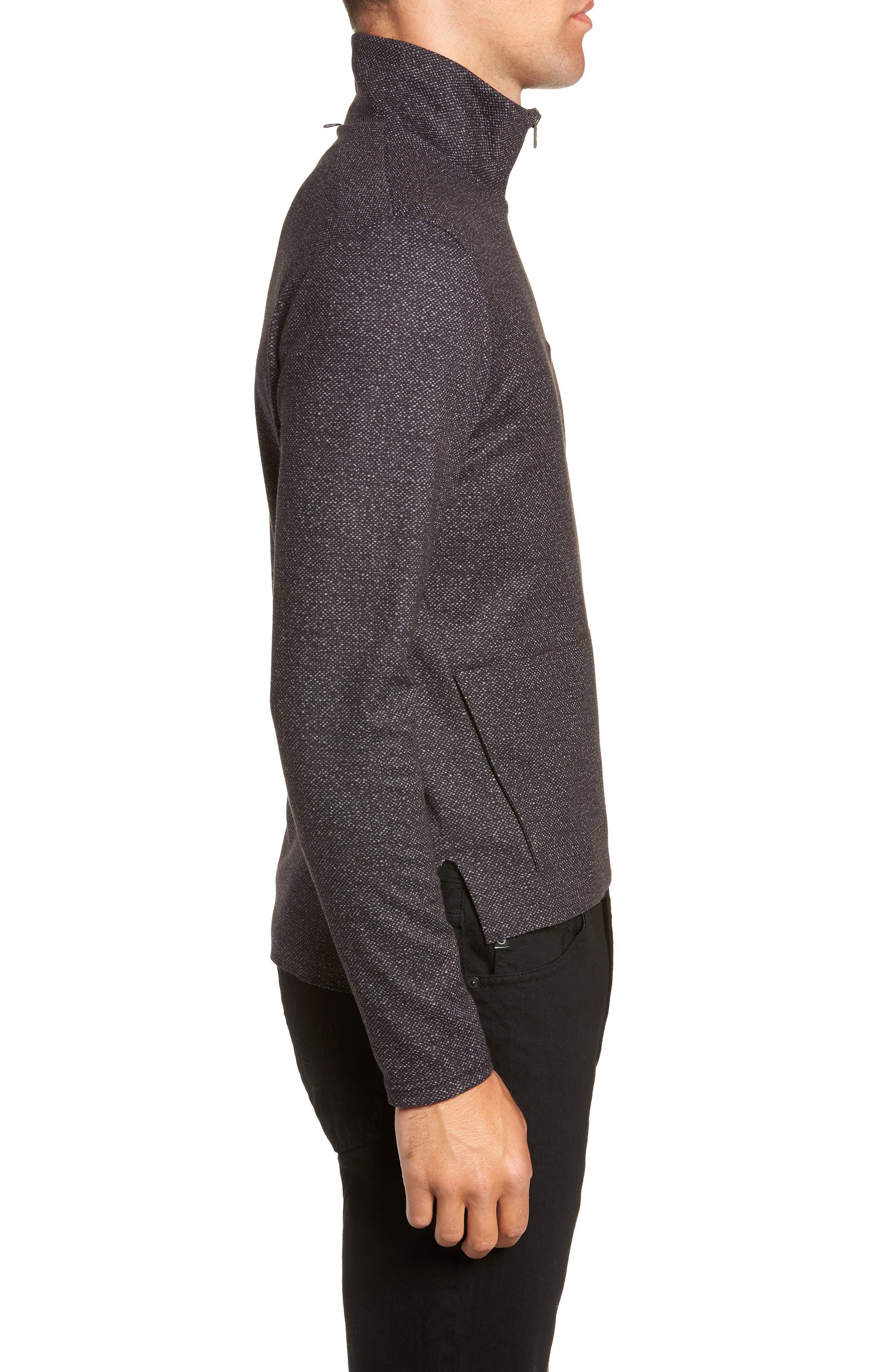 Oscar Quarter Zip Slim Fit Sweater,                             Alternate thumbnail 3, color,                             CHARCOAL
