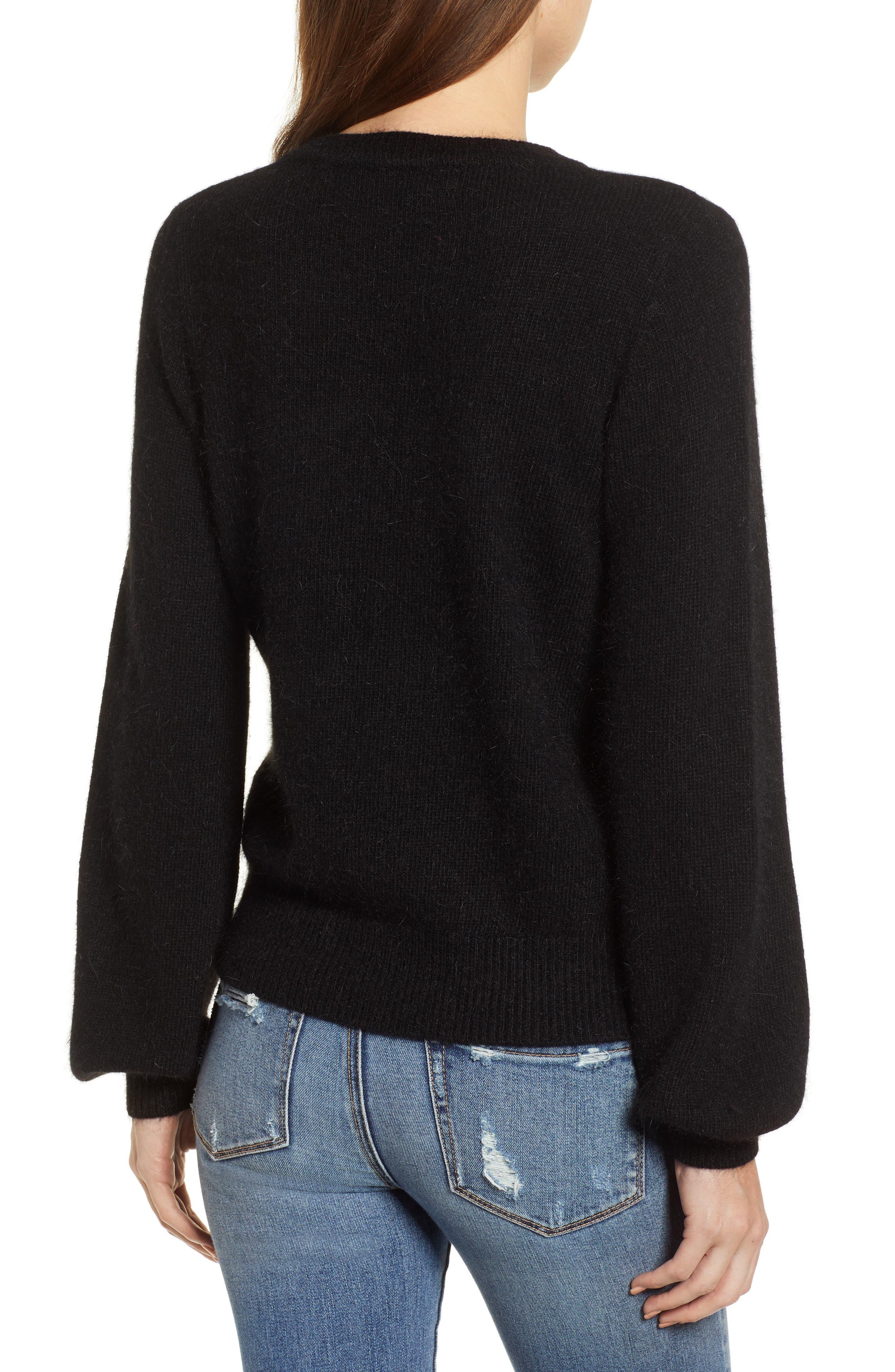 Blouson Sleeve Sweater,                             Alternate thumbnail 2, color,                             BLACK