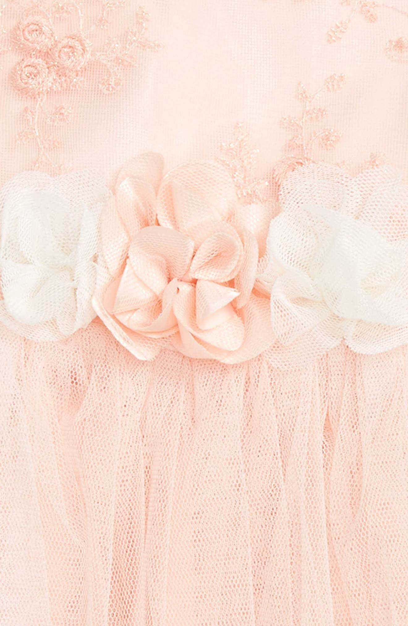 Floral Embroidered Tulle Dress,                             Alternate thumbnail 2, color,                             PEACH