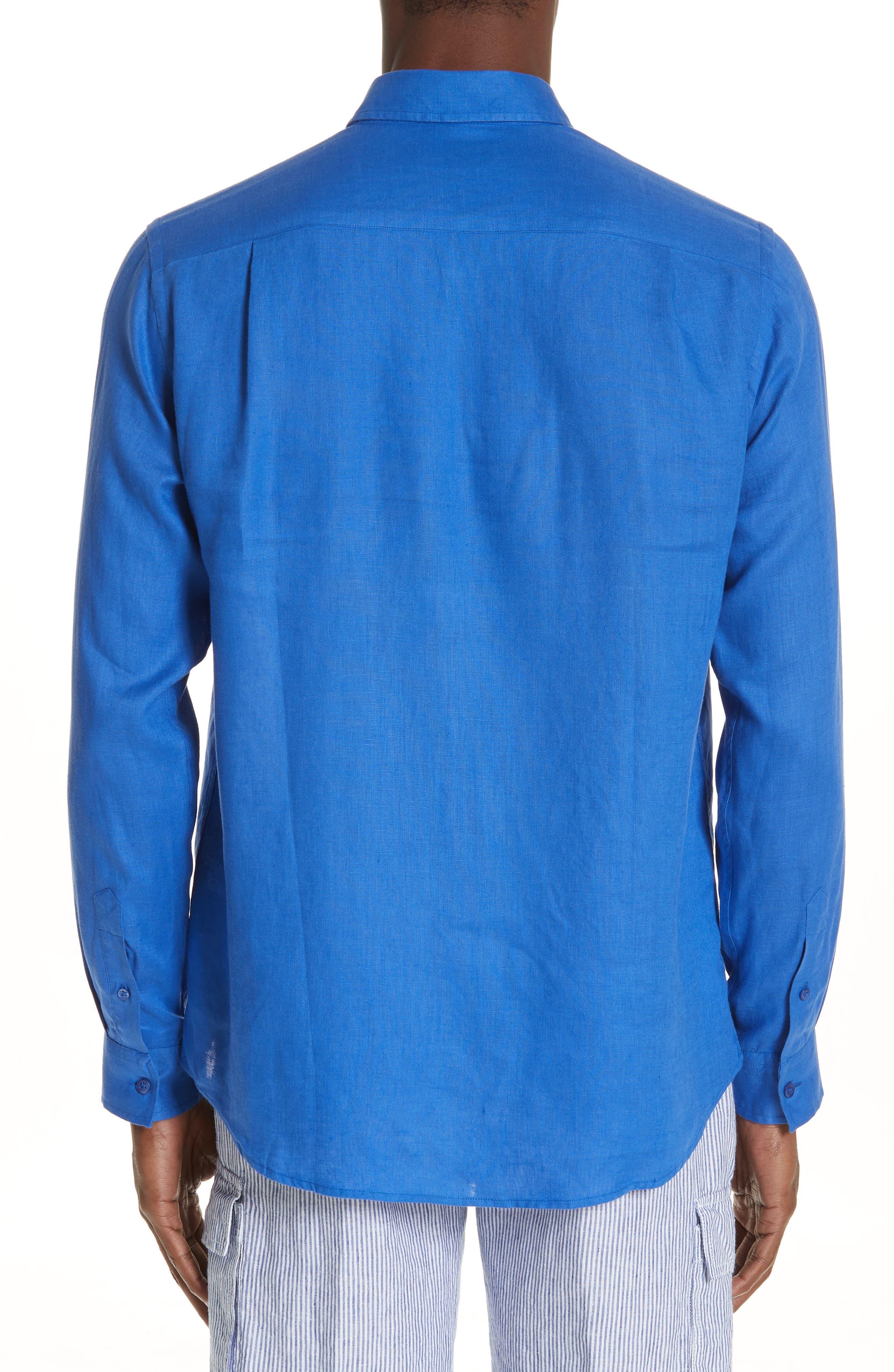 Linen Sport Shirt,                             Alternate thumbnail 3, color,                             BLUE 2