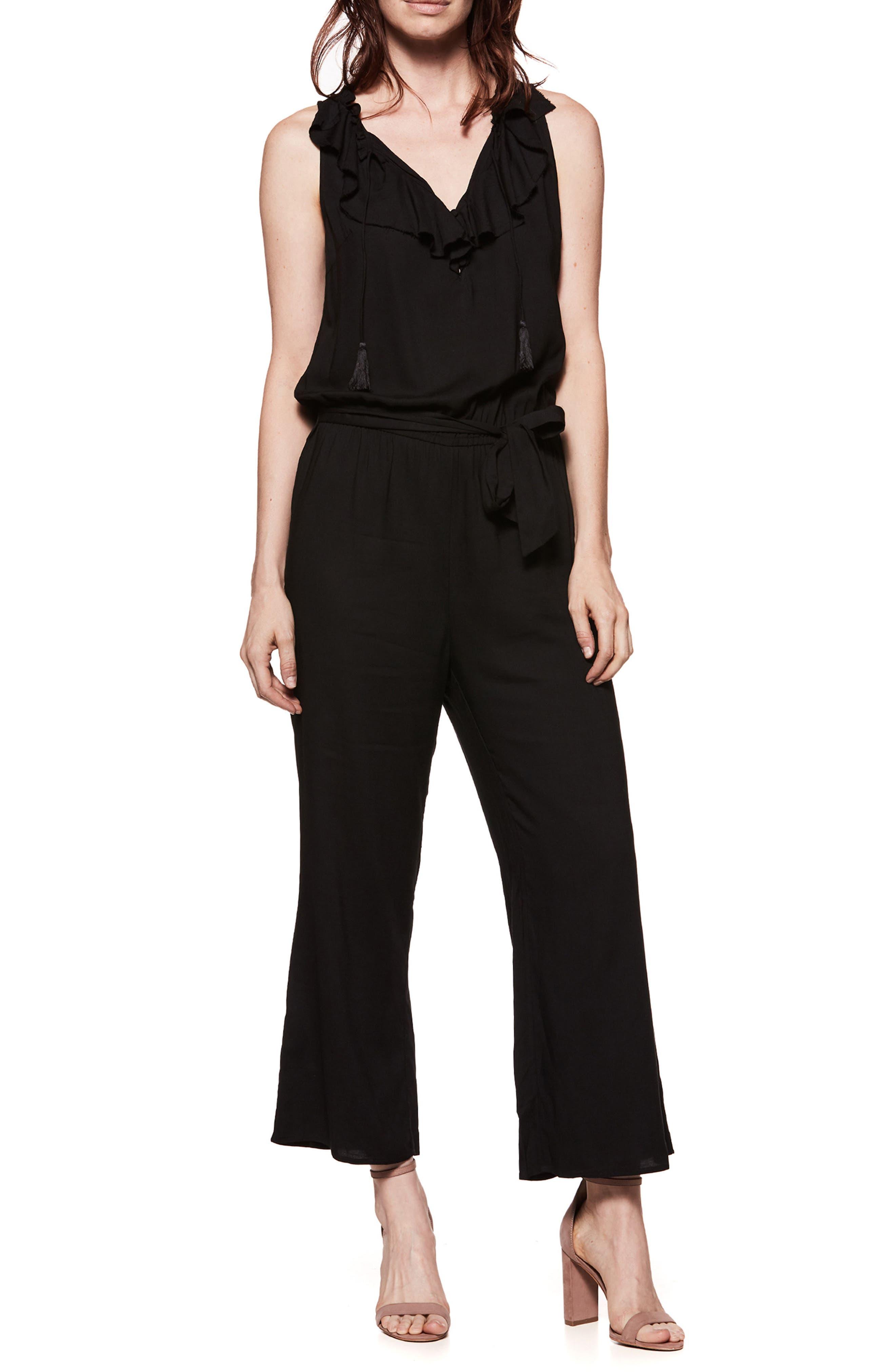 Paletta Ruffle Neck Jumpsuit,                             Main thumbnail 1, color,                             BLACK