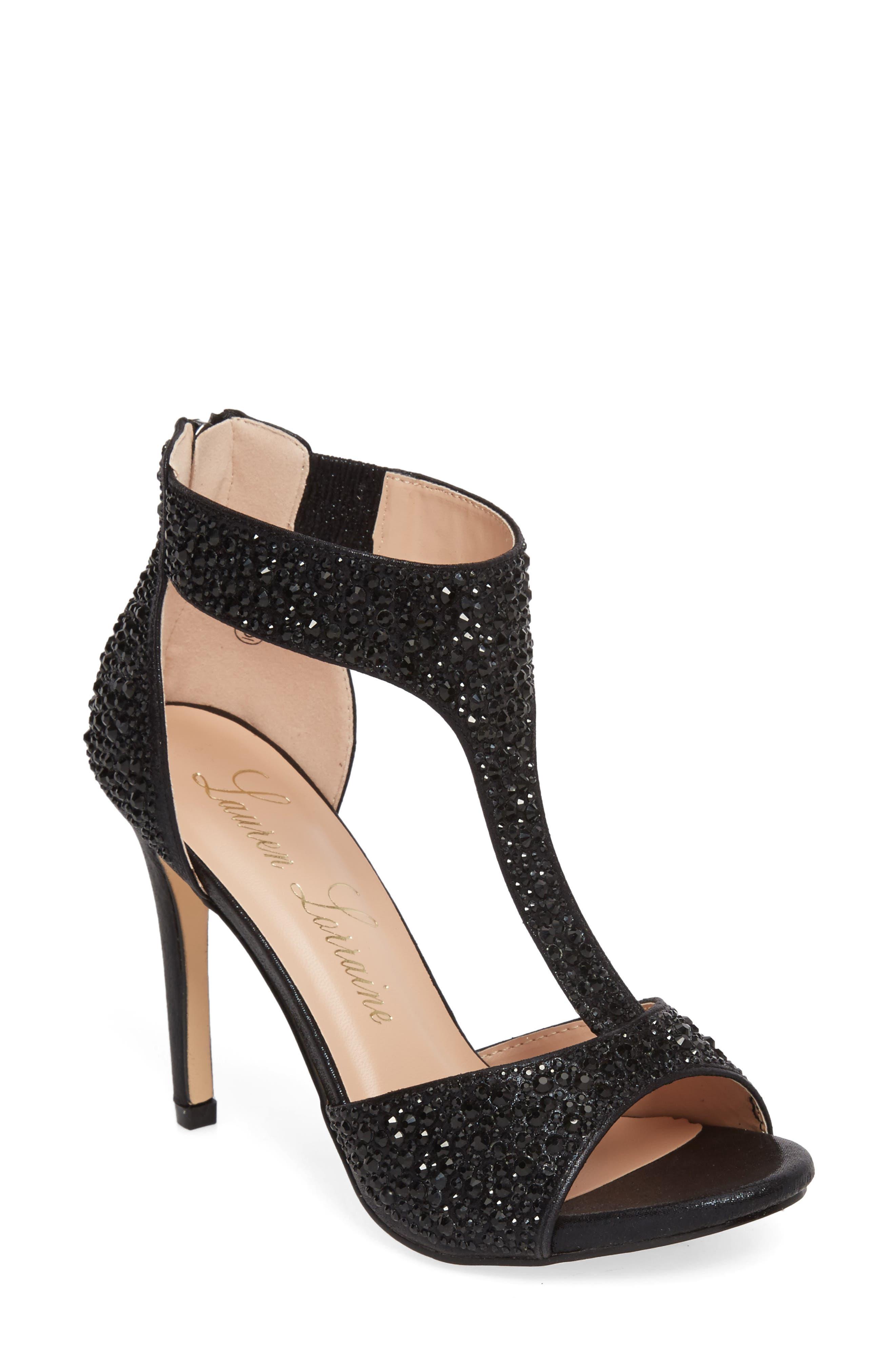 Ina Crystal Embellished Sandal,                             Main thumbnail 1, color,                             BLACK