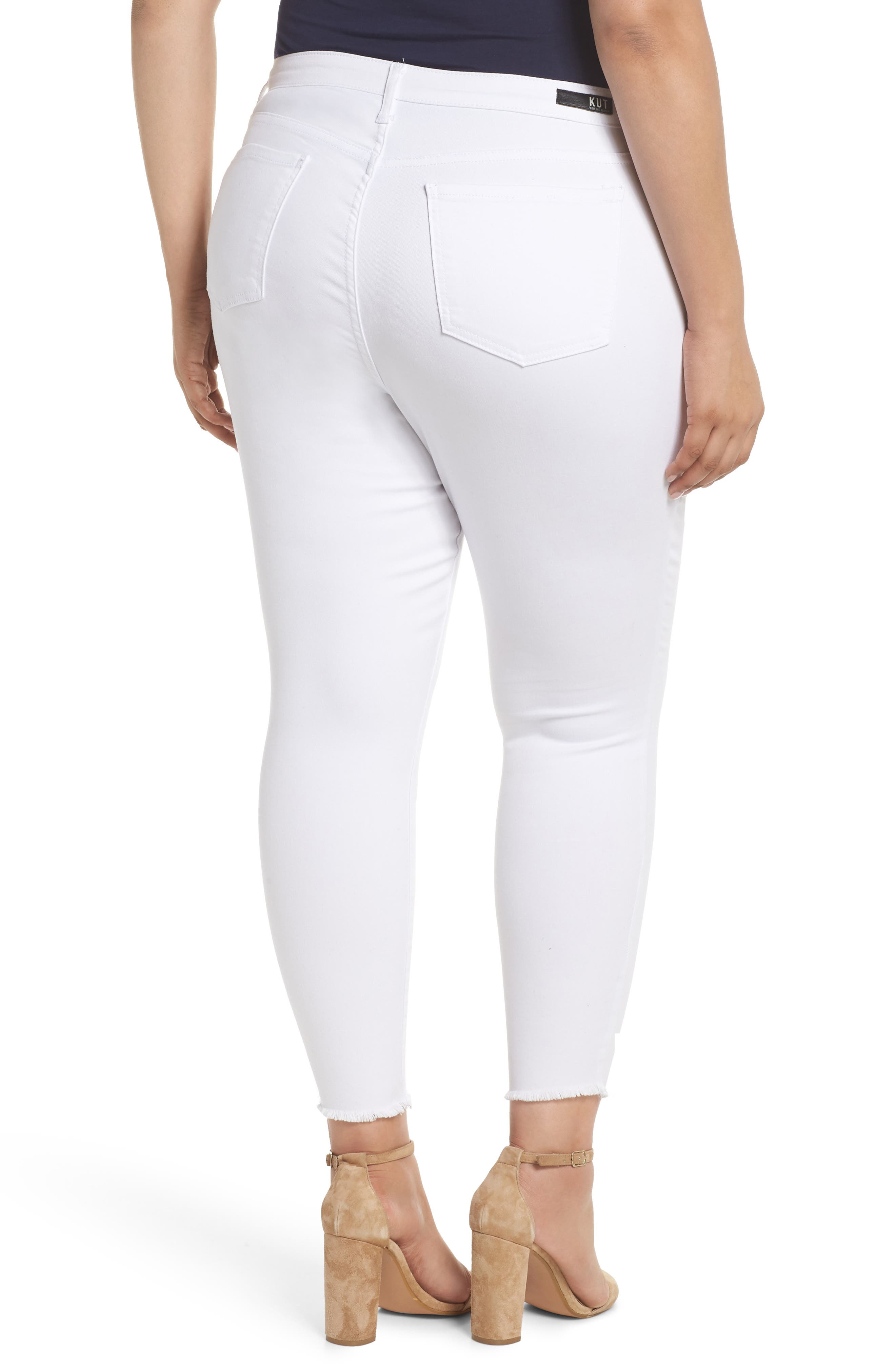 Donna Ankle Frayed Skinny Jeans,                             Alternate thumbnail 2, color,                             OPTIC WHITE