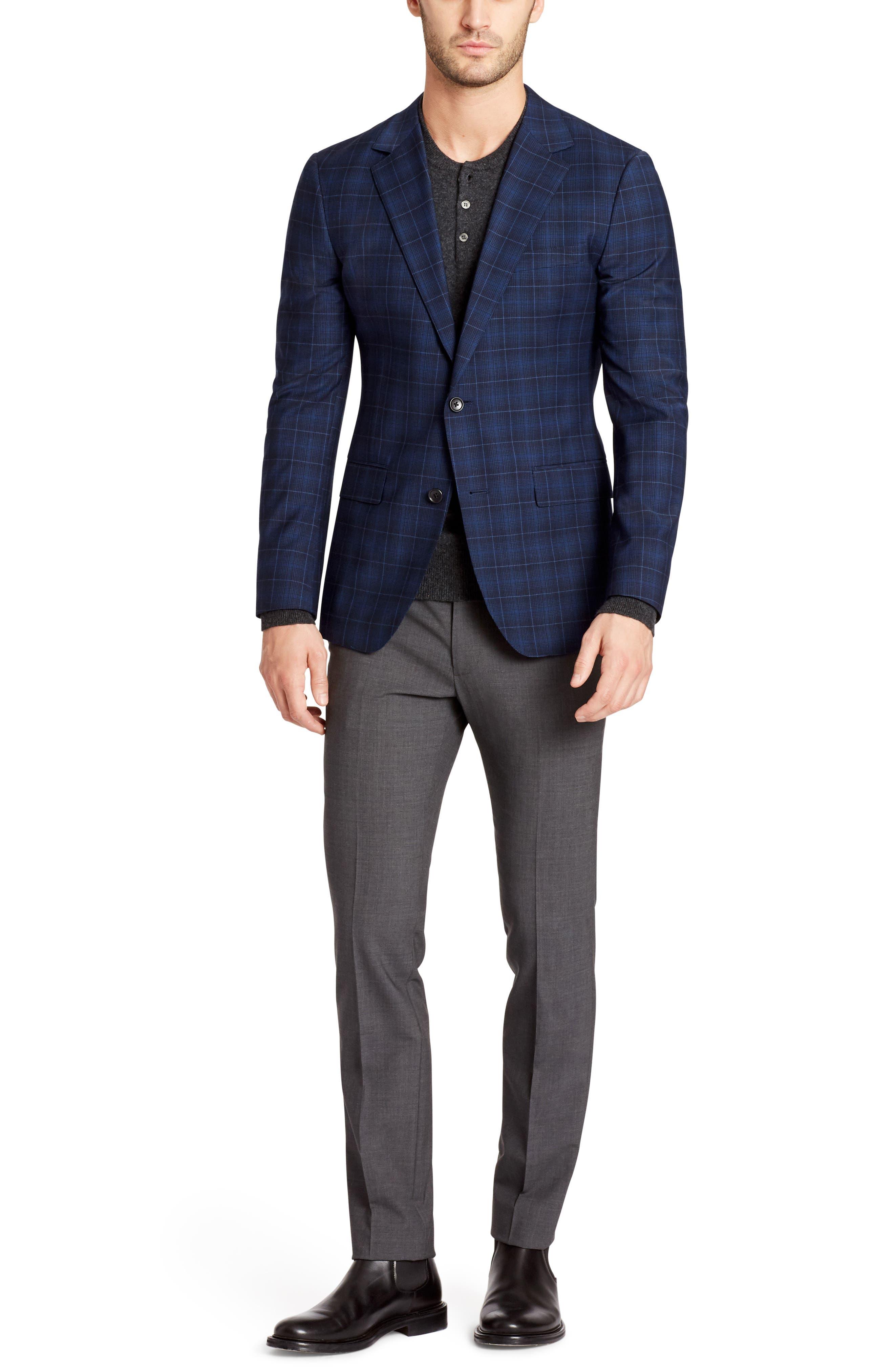 Jetsetter Slim Fit Plaid Wool Sport Coat,                             Alternate thumbnail 4, color,                             400