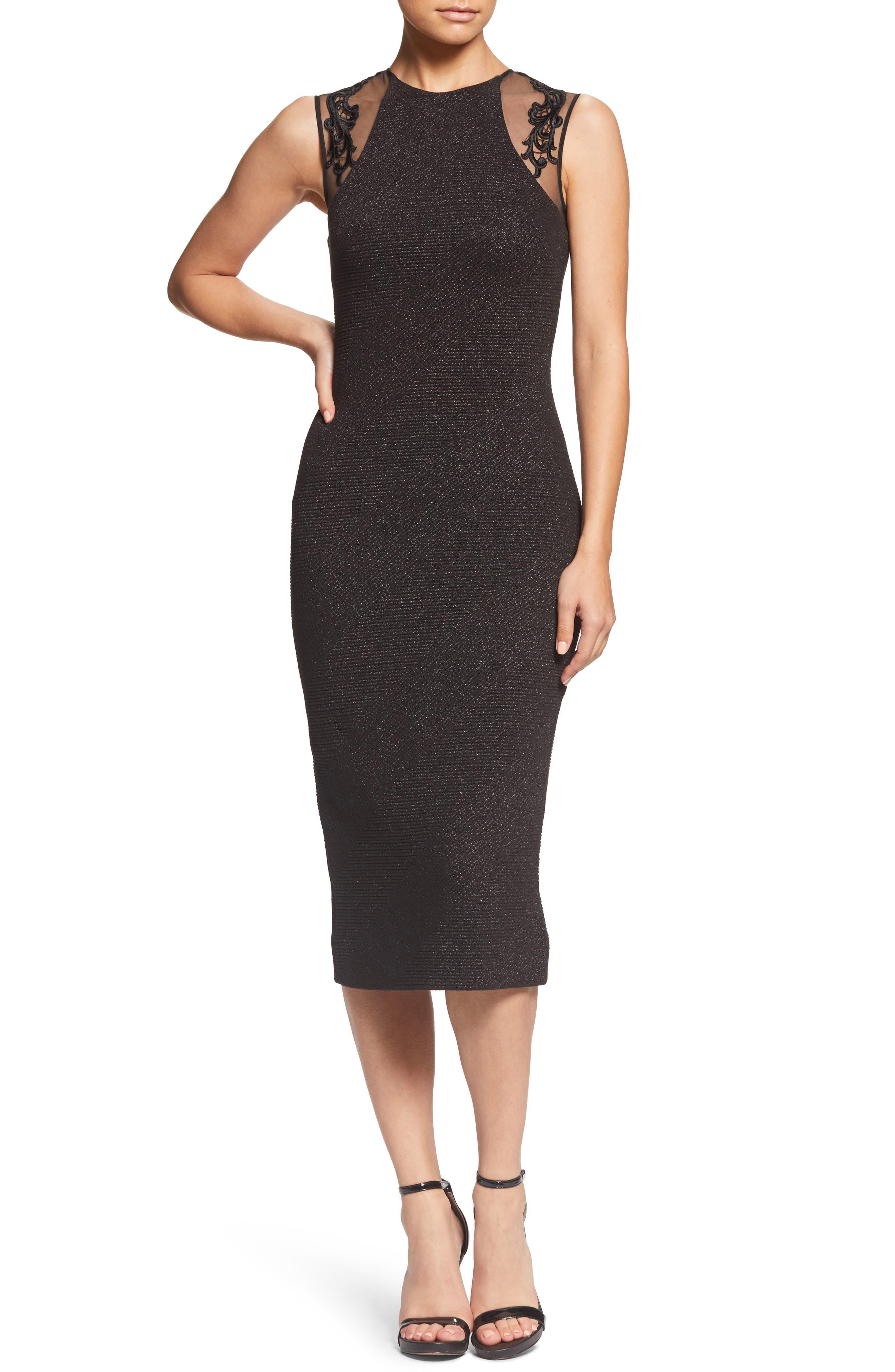 Skylar Embellished Sheath Dress,                         Main,                         color, BLACK
