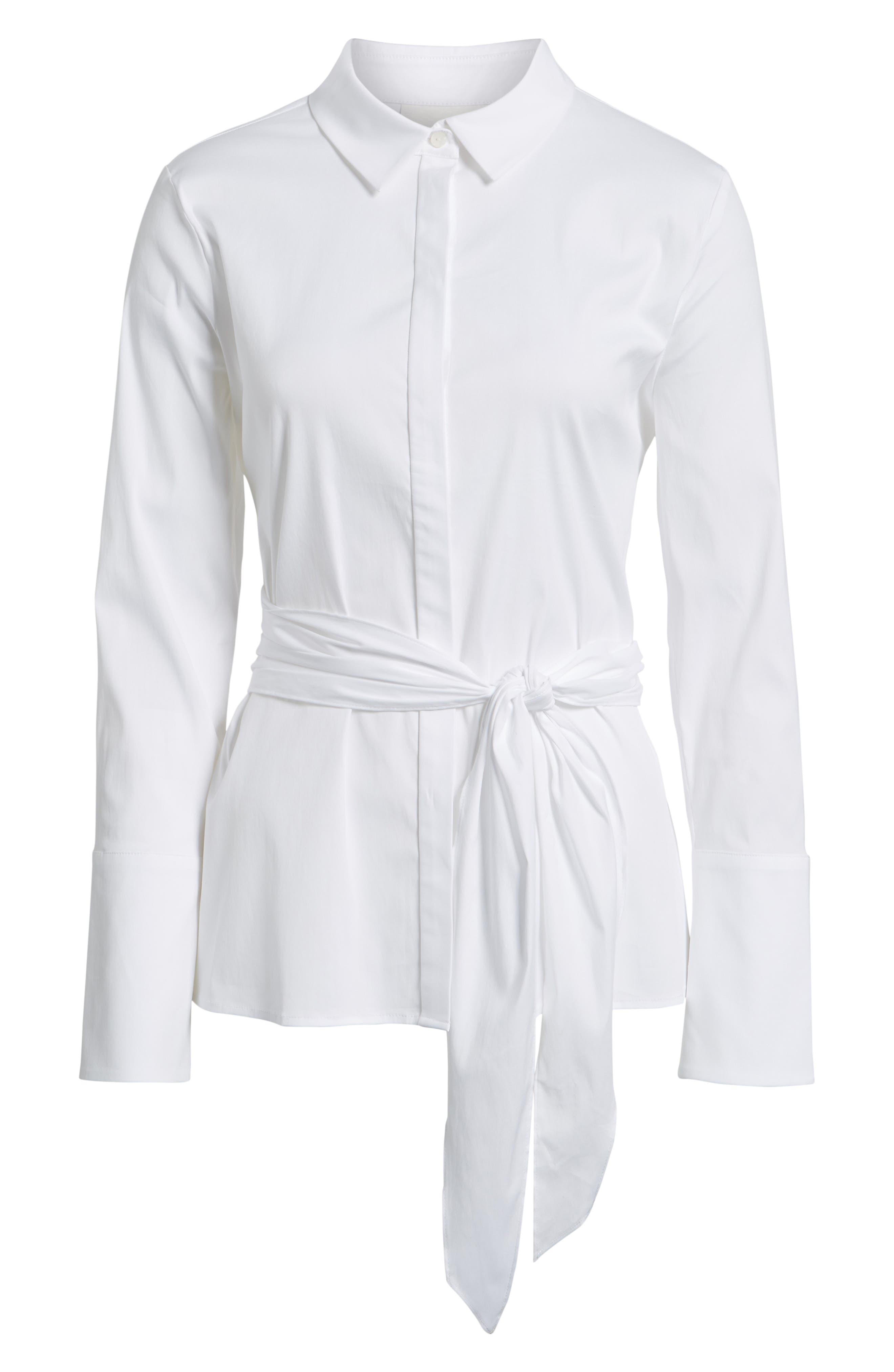 Tie Front Cotton Blend Blouse,                             Alternate thumbnail 6, color,                             100