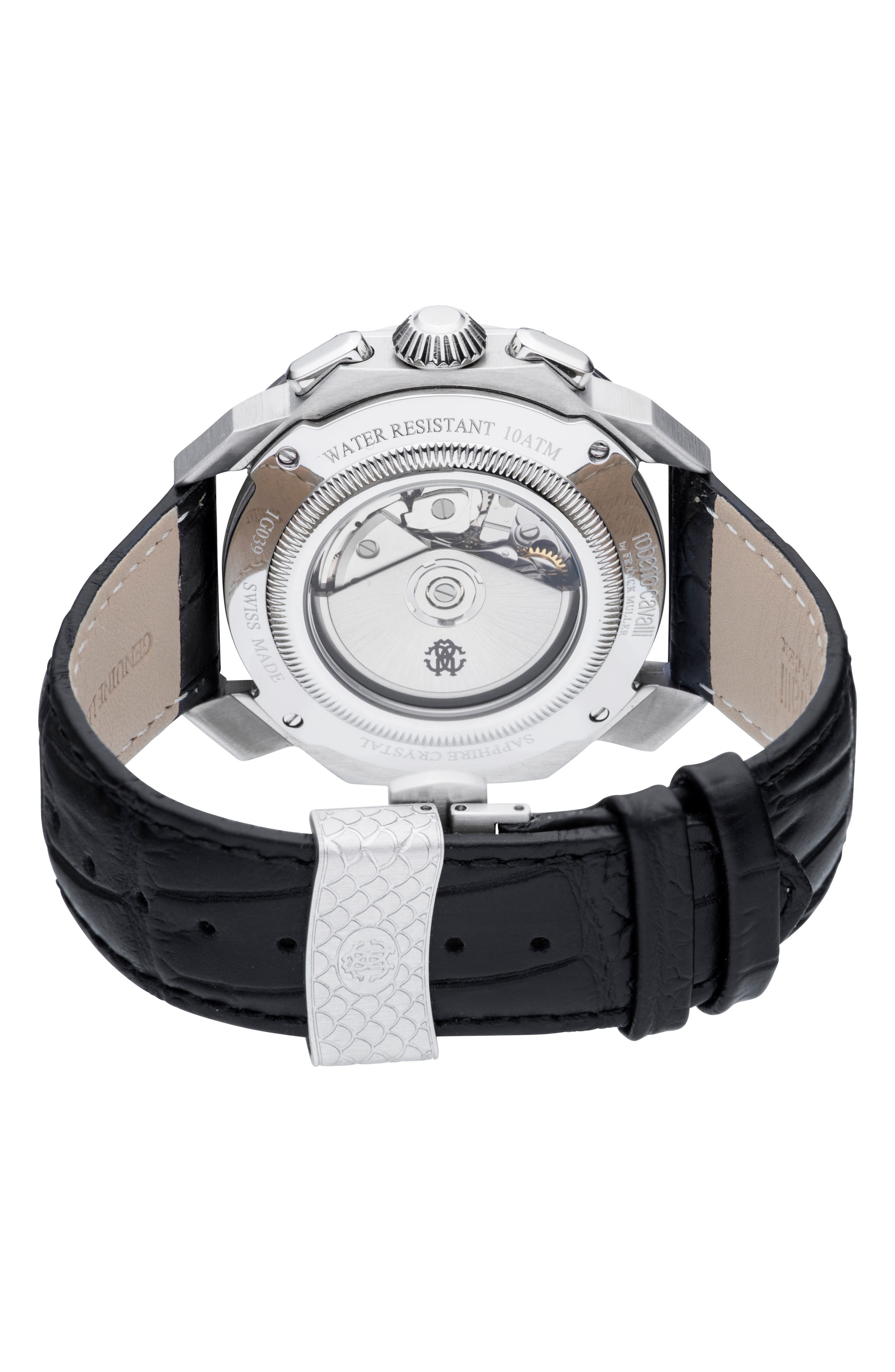 Sport Chronograph Leather Strap Watch,                             Alternate thumbnail 2, color,                             BLACK/ SILVER