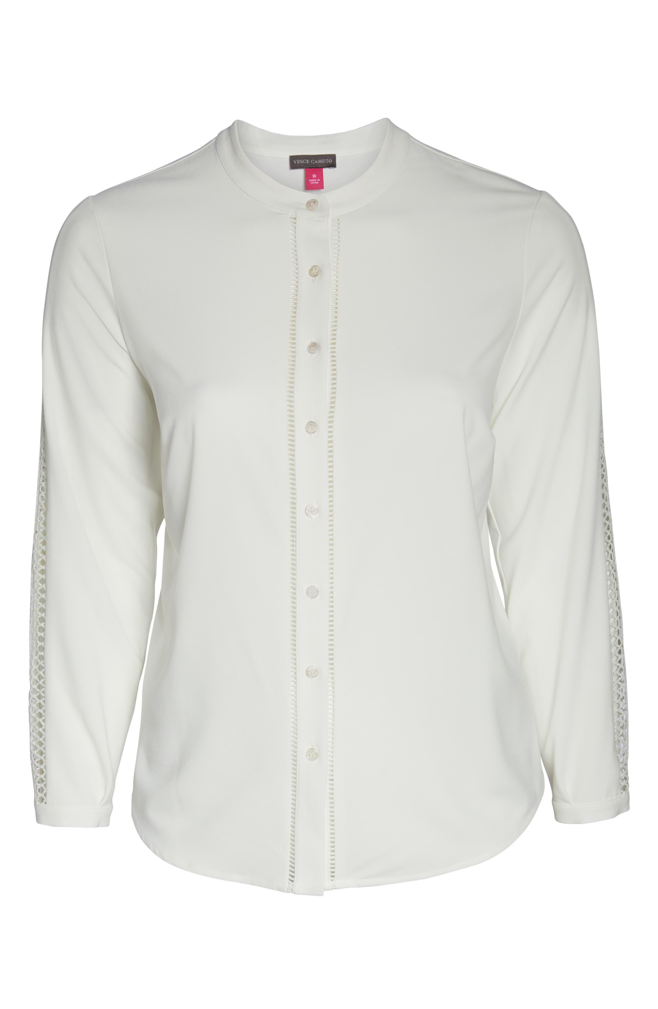 Cutout Sleeve Button Down Shirt,                             Alternate thumbnail 6, color,                             PEARL IVORY