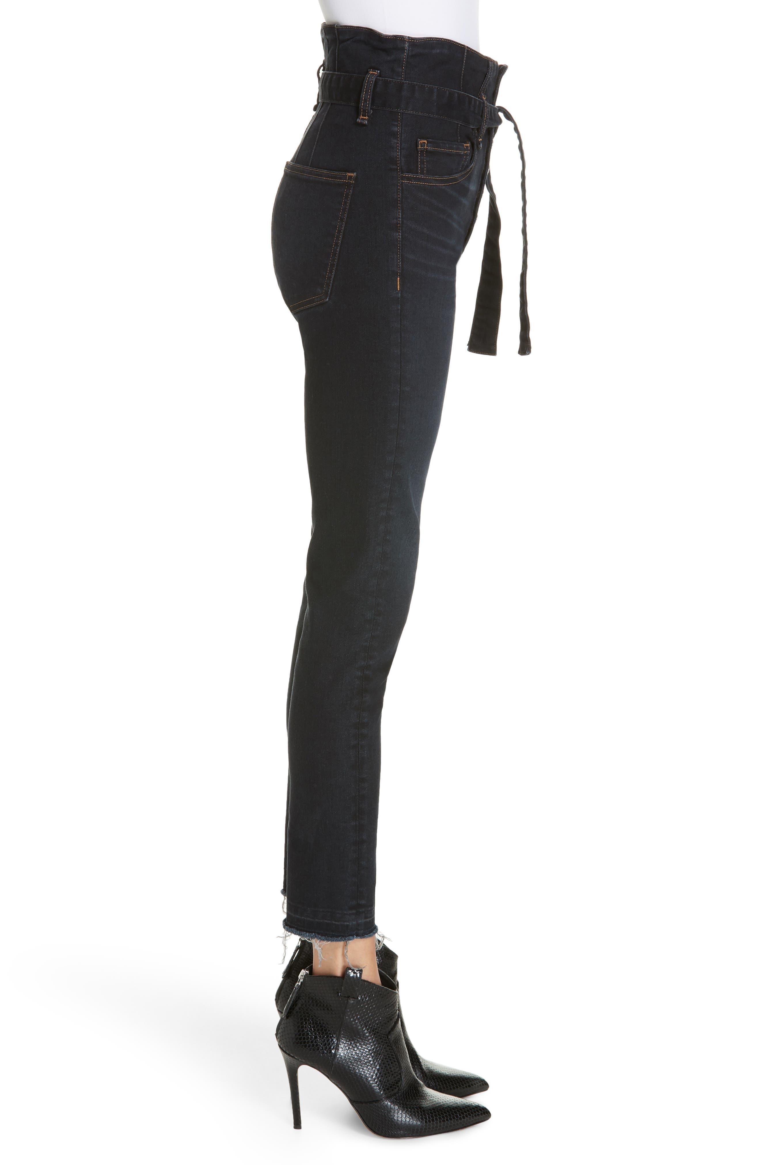Keith Corset Waist Skinny Jeans,                             Alternate thumbnail 3, color,                             DARK SLATE