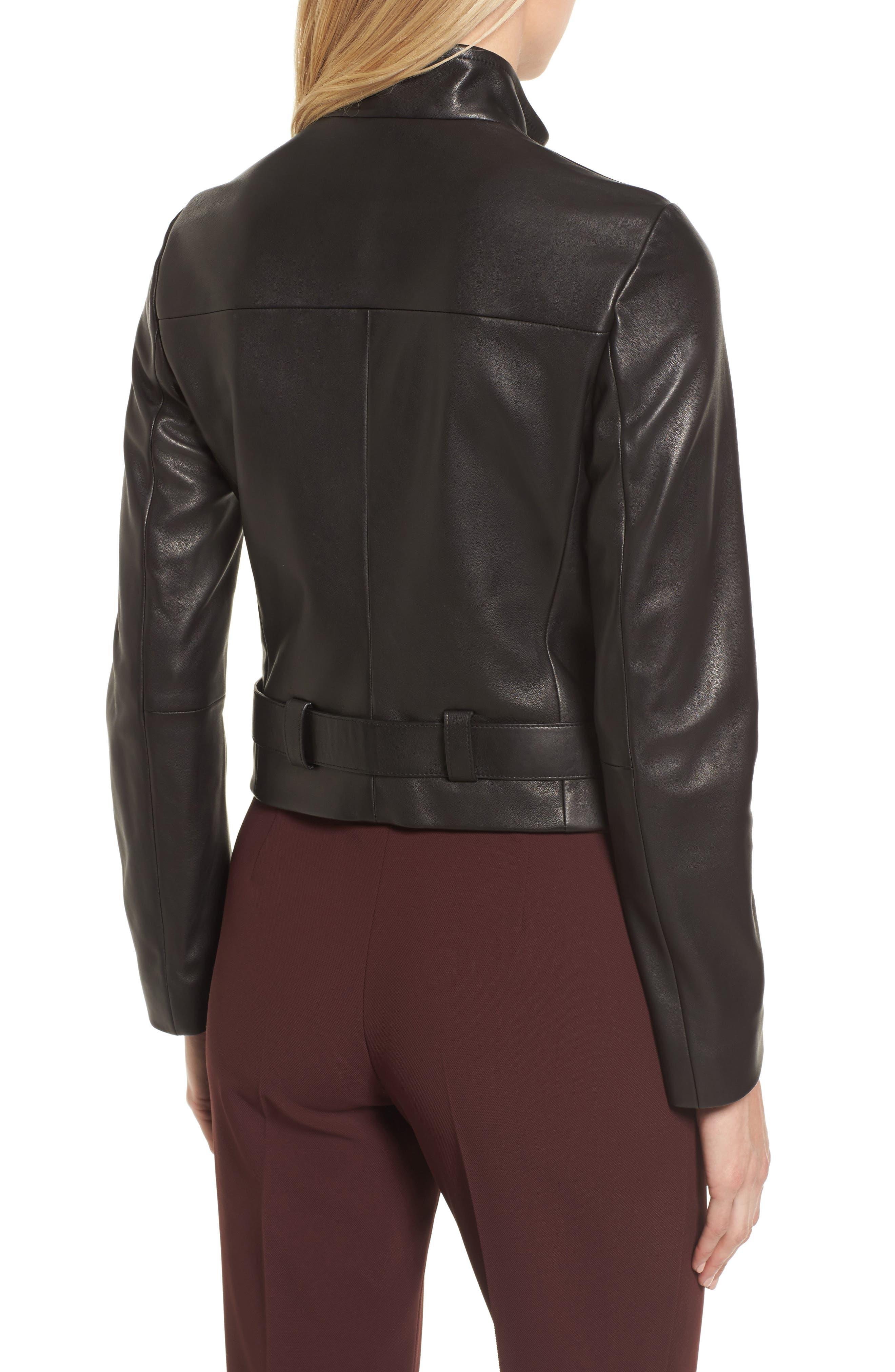 BOSS,                             Sanuvo Leather Jacket,                             Alternate thumbnail 2, color,                             001