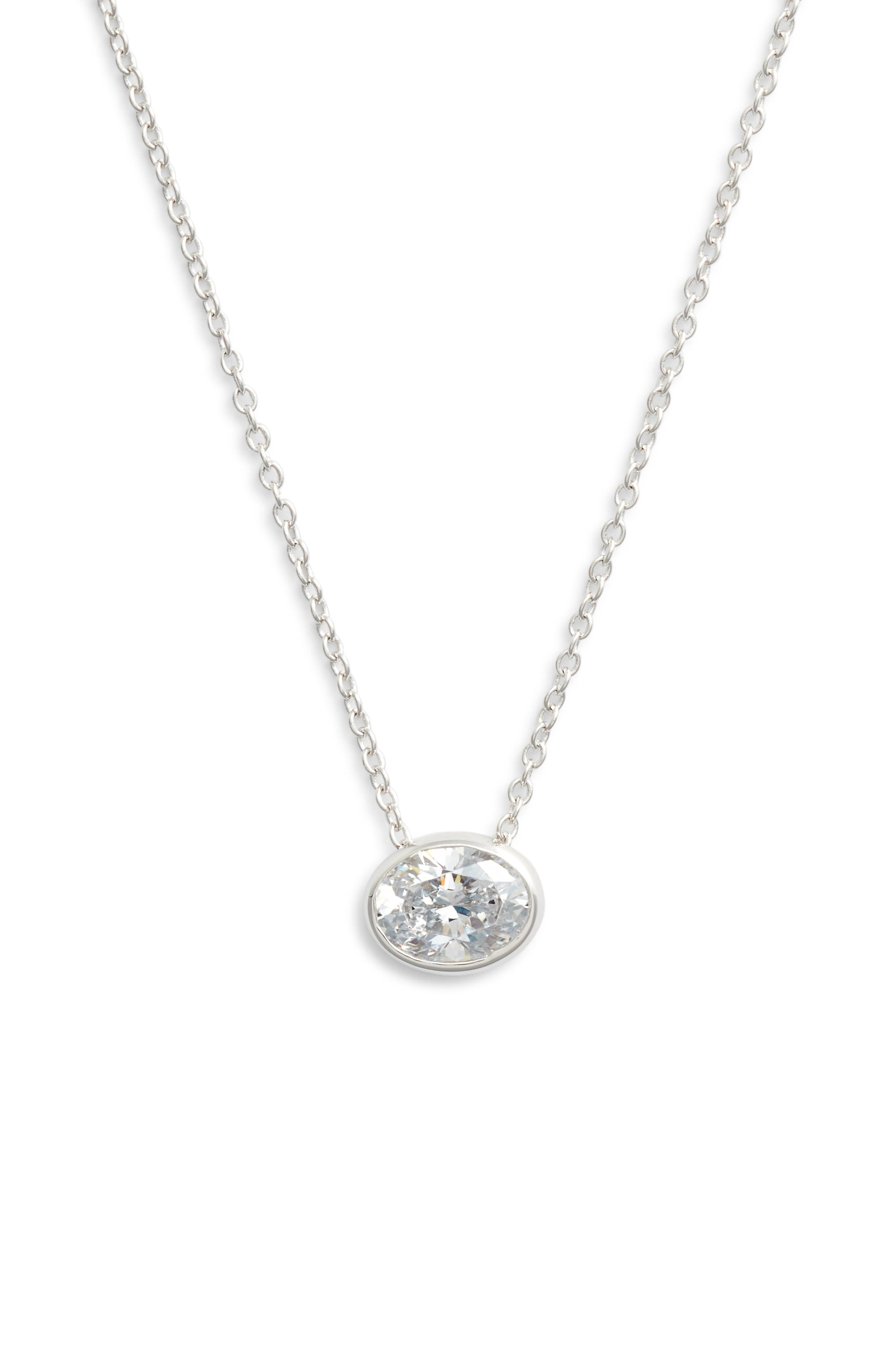 Bezel-Set Cushion-Cut Choker Necklace,                         Main,                         color, SILVER/ CLEAR