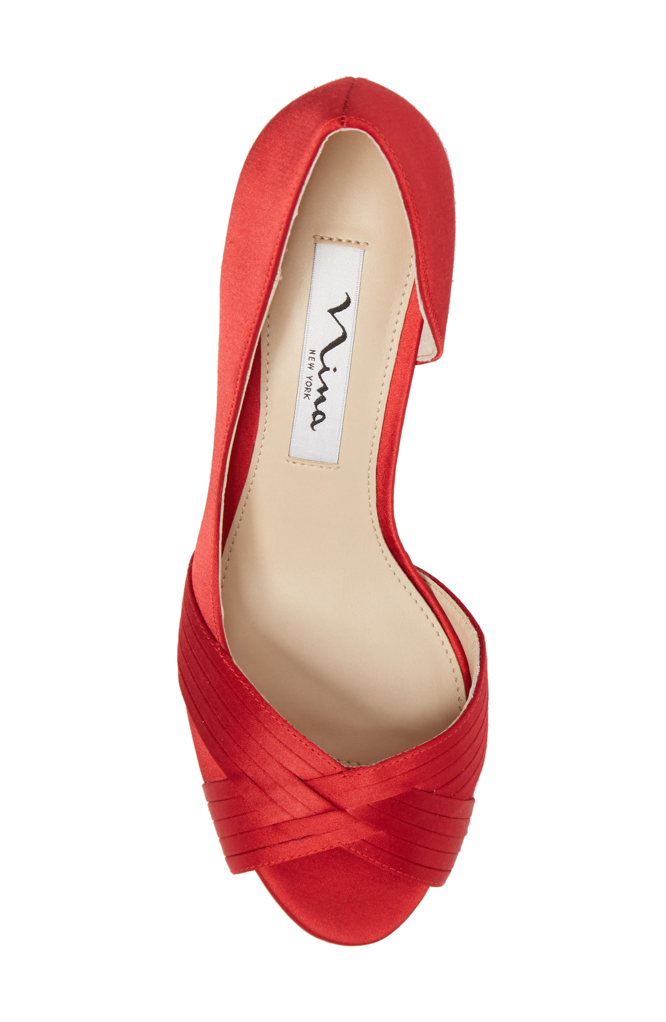 Contesa Open Toe Pump,                             Alternate thumbnail 5, color,                             RED SATIN