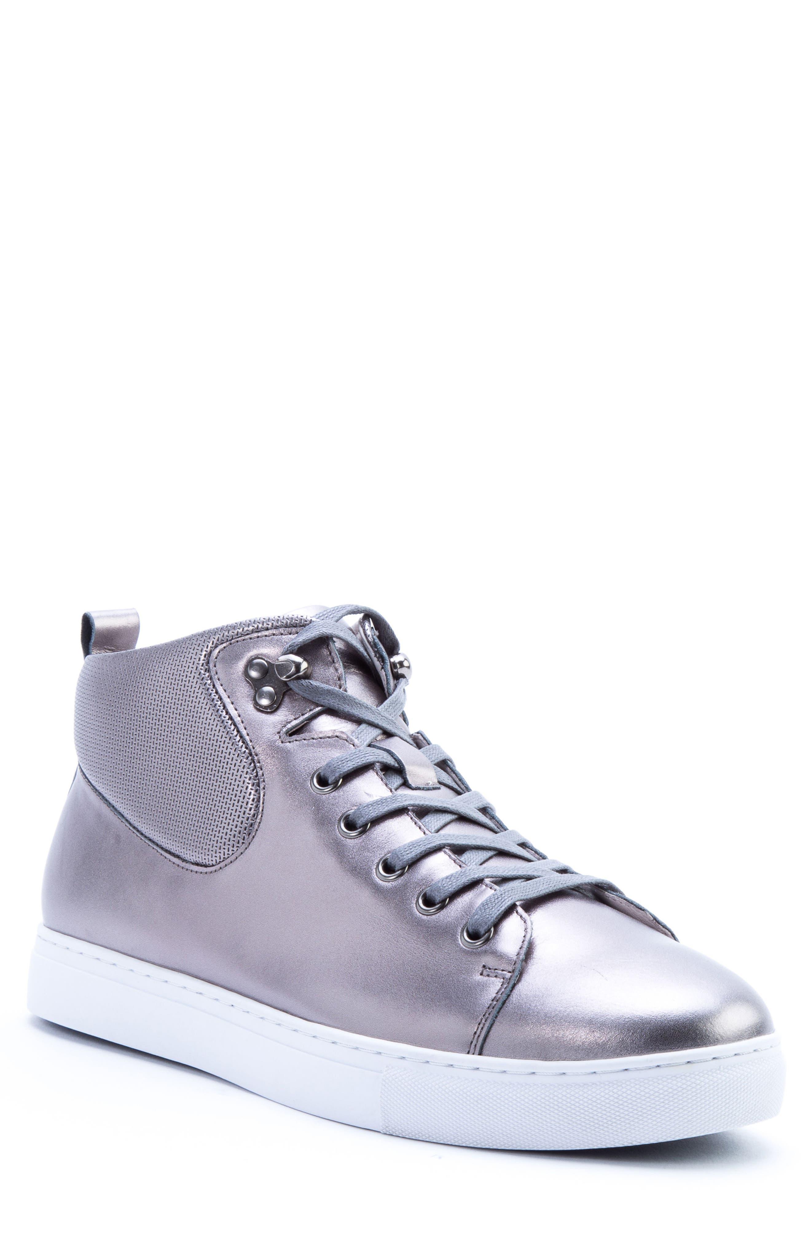 Badgley Mischka Sanders Sneaker,                         Main,                         color, GUN METAL LEATHER