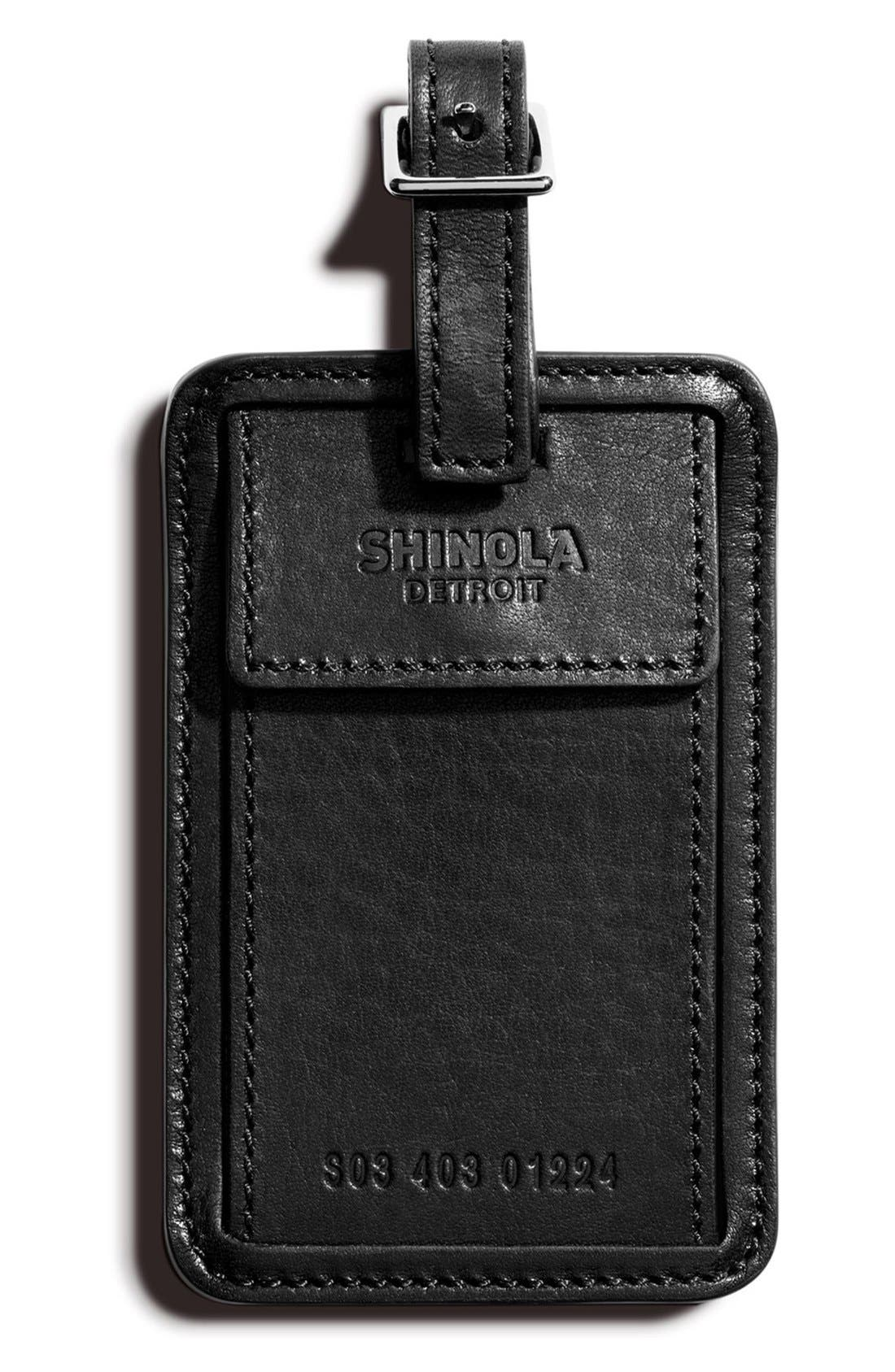 SHINOLA,                             Leather Luggage Tag,                             Main thumbnail 1, color,                             001