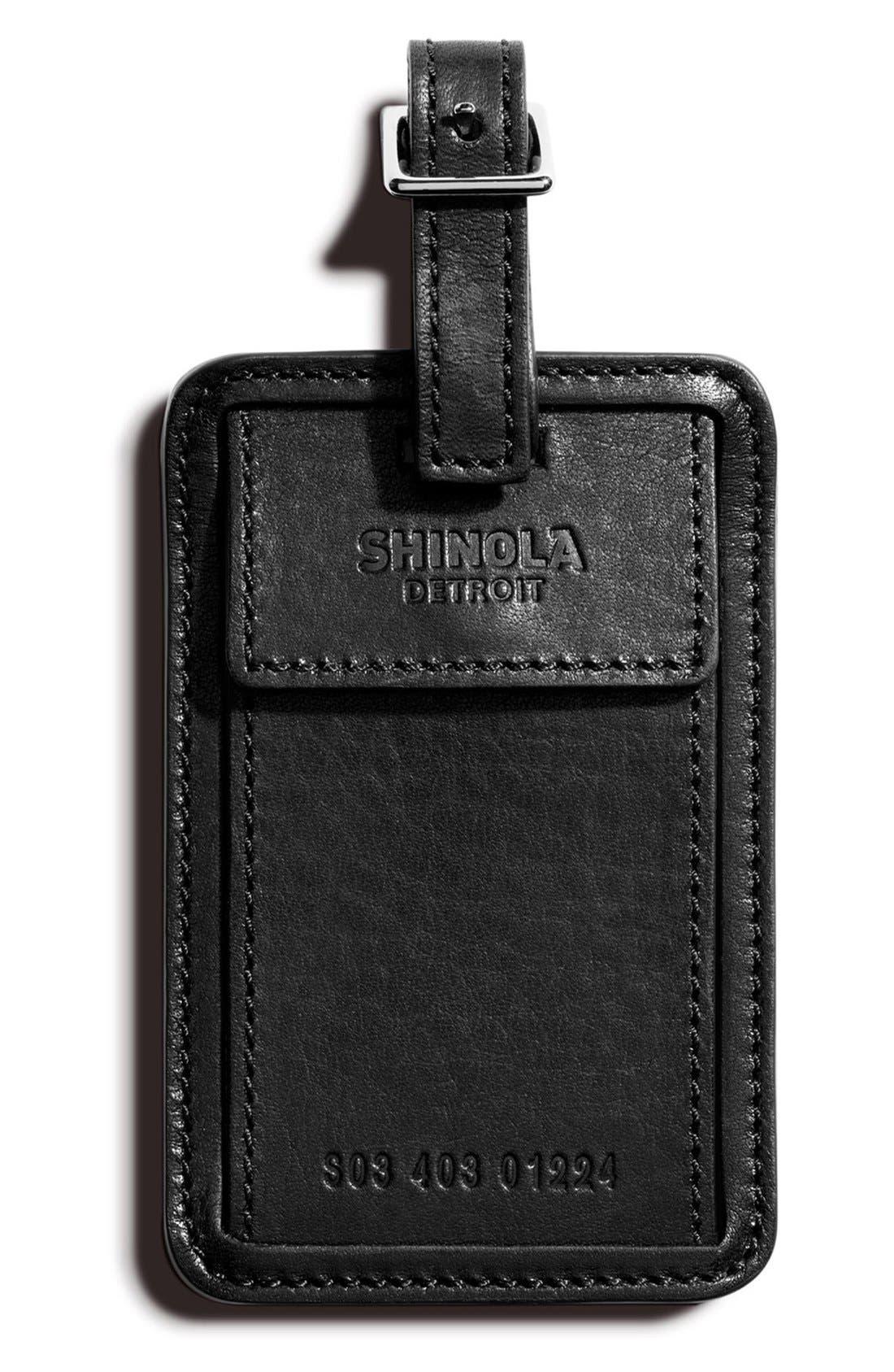 SHINOLA Leather Luggage Tag, Main, color, 001