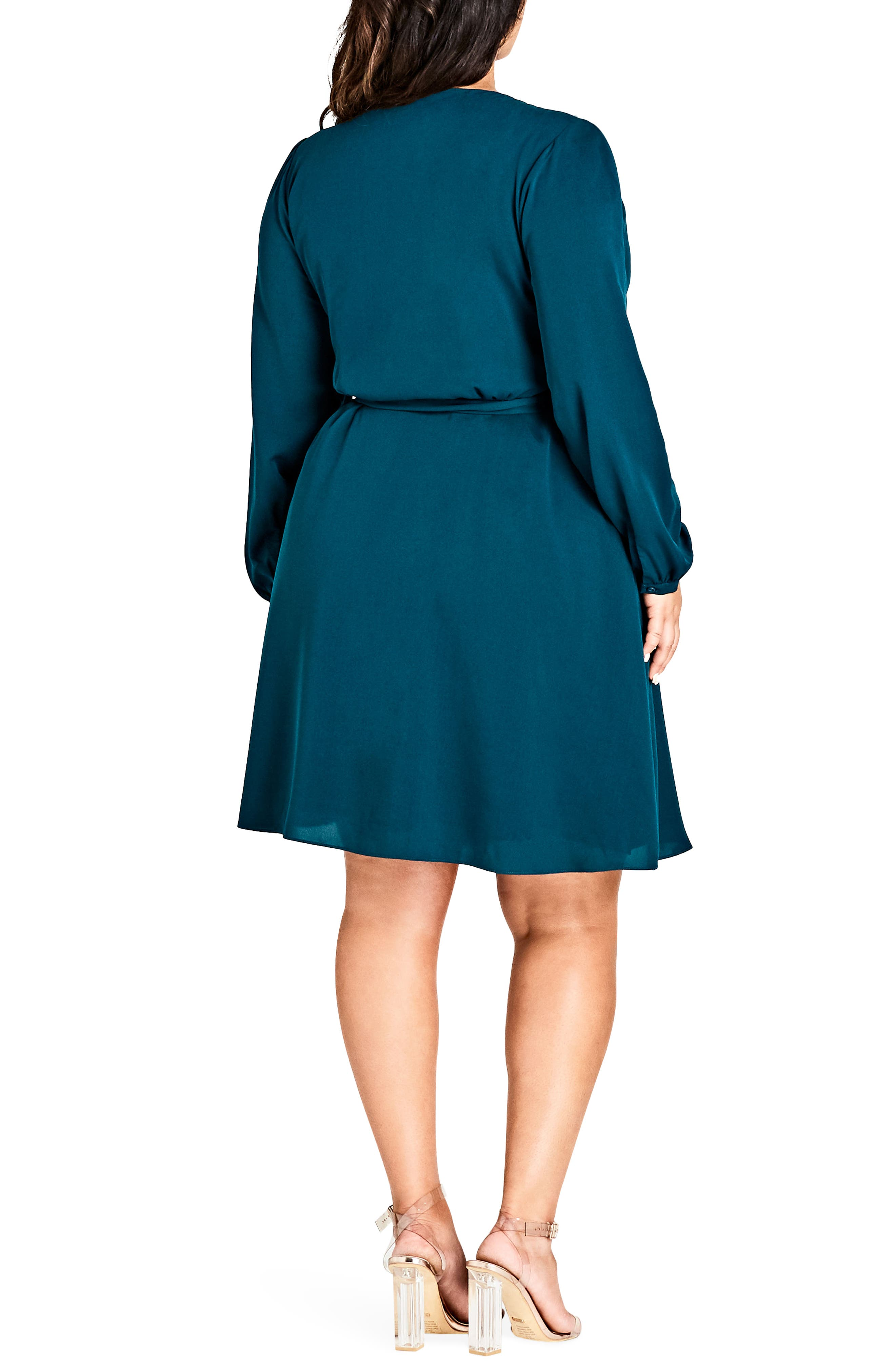Mia Wrap Dress,                             Alternate thumbnail 2, color,                             EMERALD