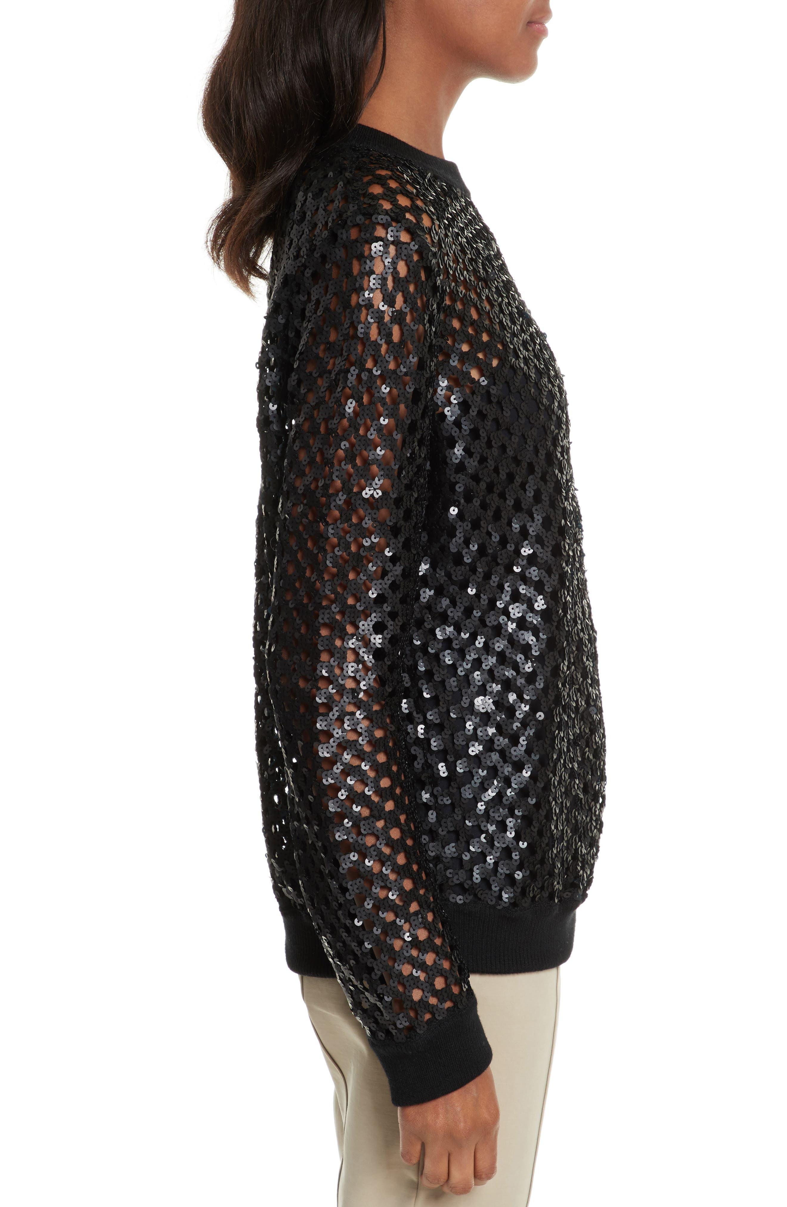 Lansing Sequin Mesh Sweater,                             Alternate thumbnail 3, color,                             001