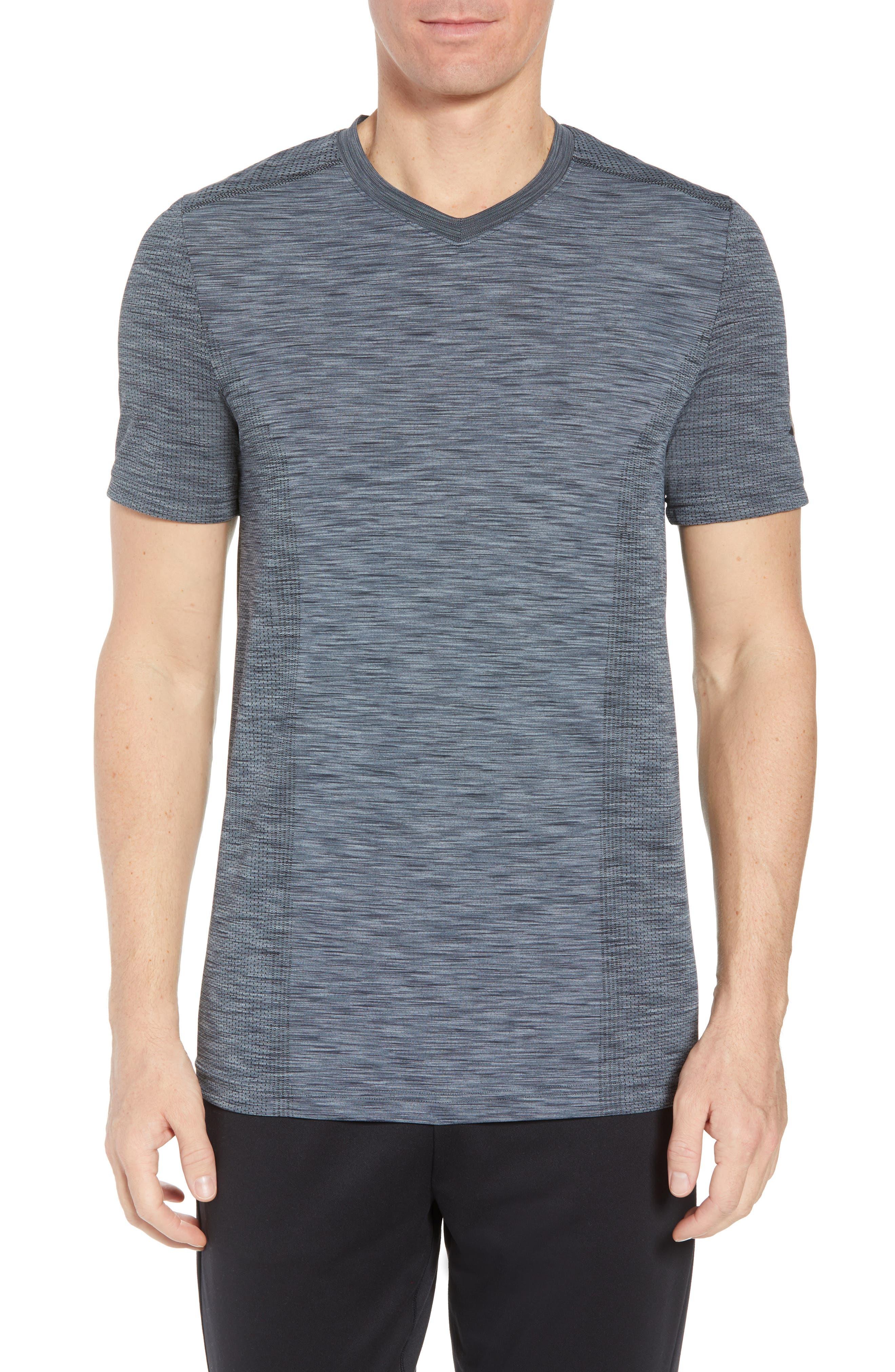 Regular Fit Threadborne T-Shirt,                             Main thumbnail 1, color,                             GRAPHITE/ BLACK