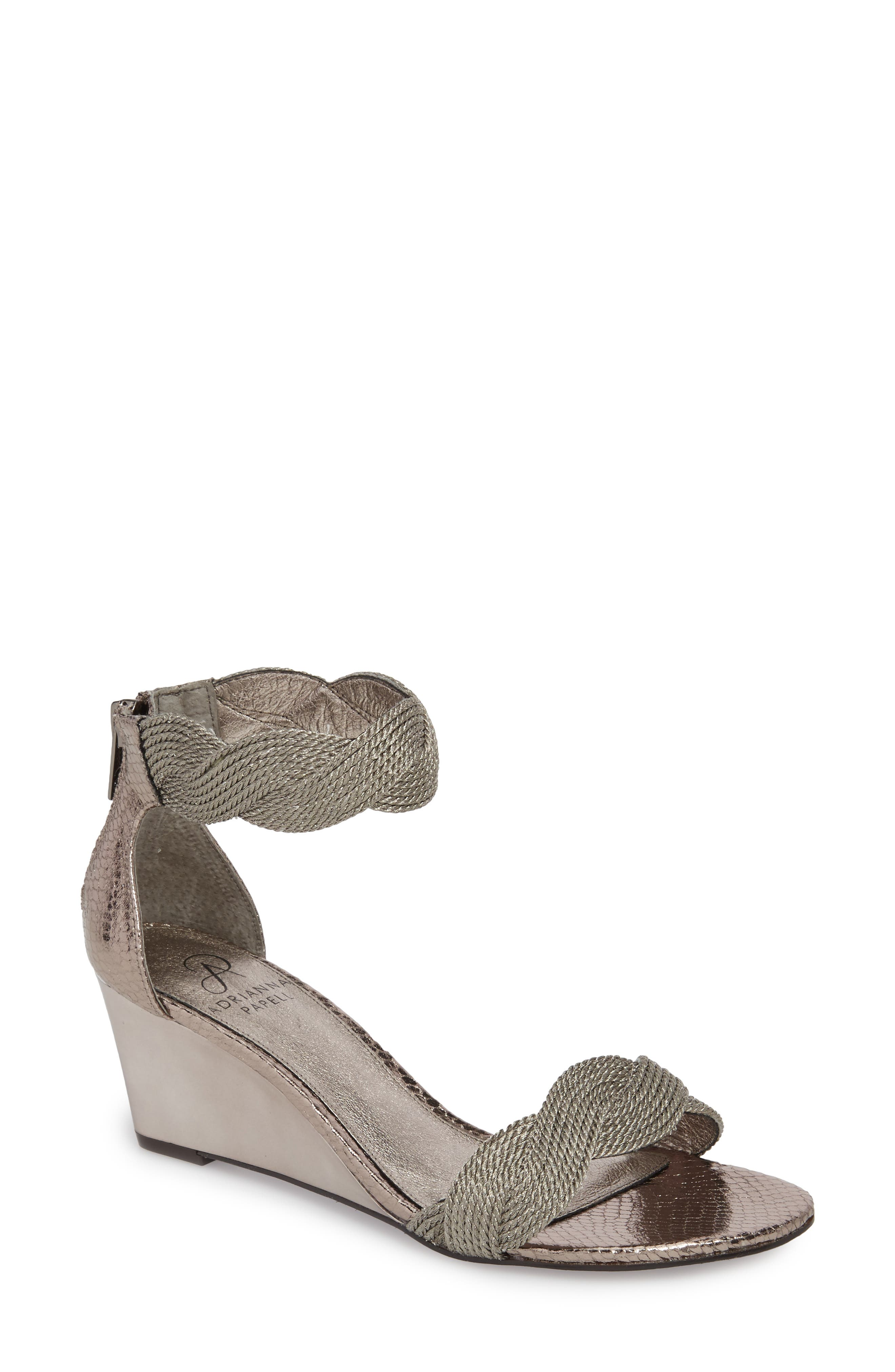 Adore Ankle Strap Sandal,                         Main,                         color, GUNMETAL FABRIC
