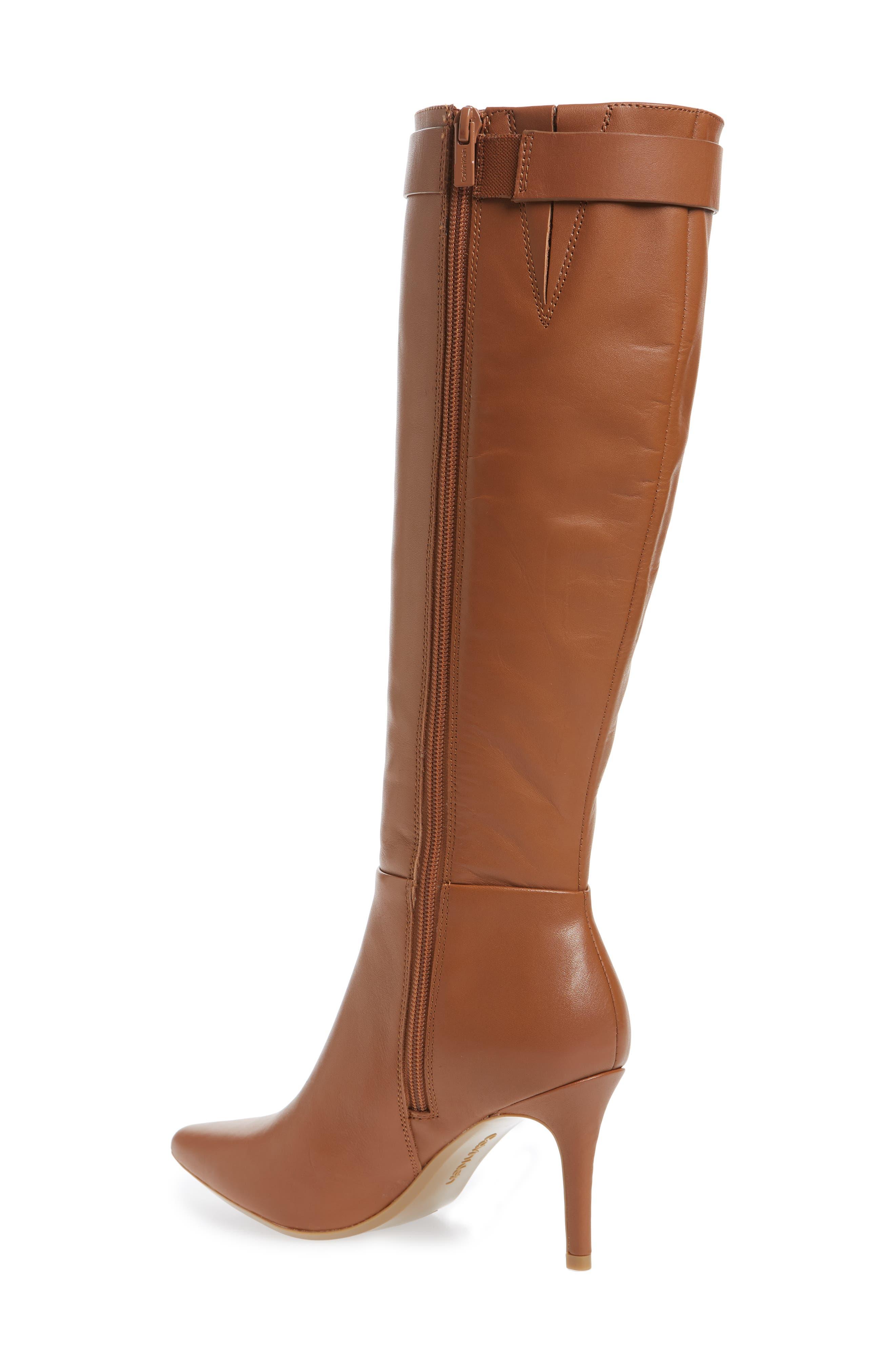Glydia Stiletto Knee High Boot,                             Alternate thumbnail 2, color,                             COGNAC LEATHER