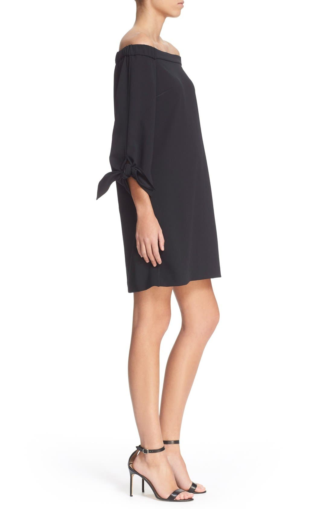 TIBI,                             Off the Shoulder Flutter Sleeve Dress,                             Alternate thumbnail 4, color,                             001