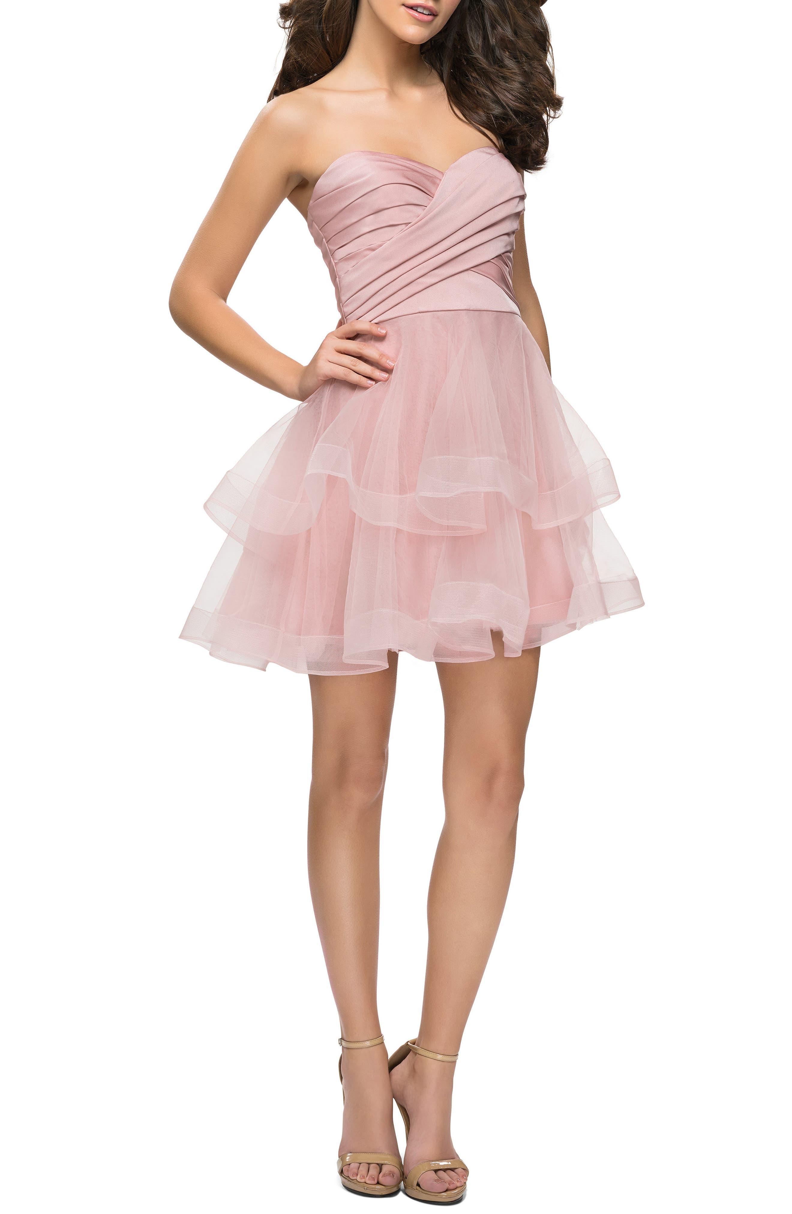 La Femme Tiered Tulle Minidress, Pink
