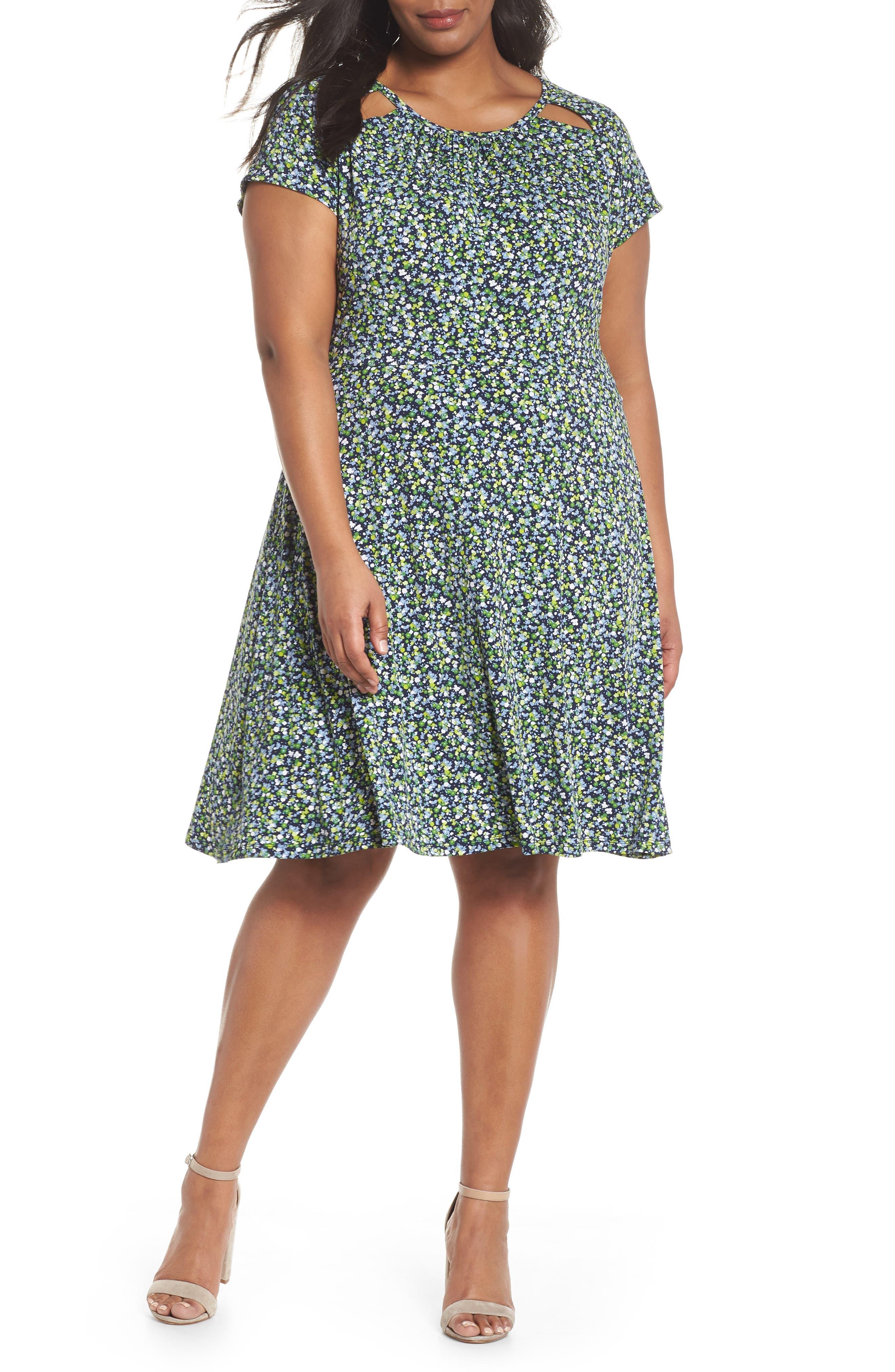 Floral Cutout Jersey Fit & Flare Dress,                             Main thumbnail 1, color,                             462
