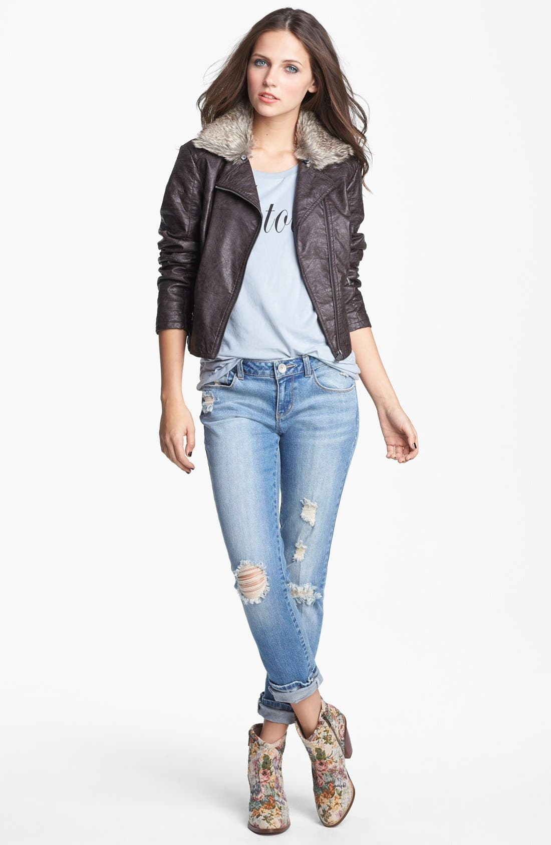 Faux Leather Moto Jacket With Faux Fur Collar,                             Alternate thumbnail 2, color,                             208