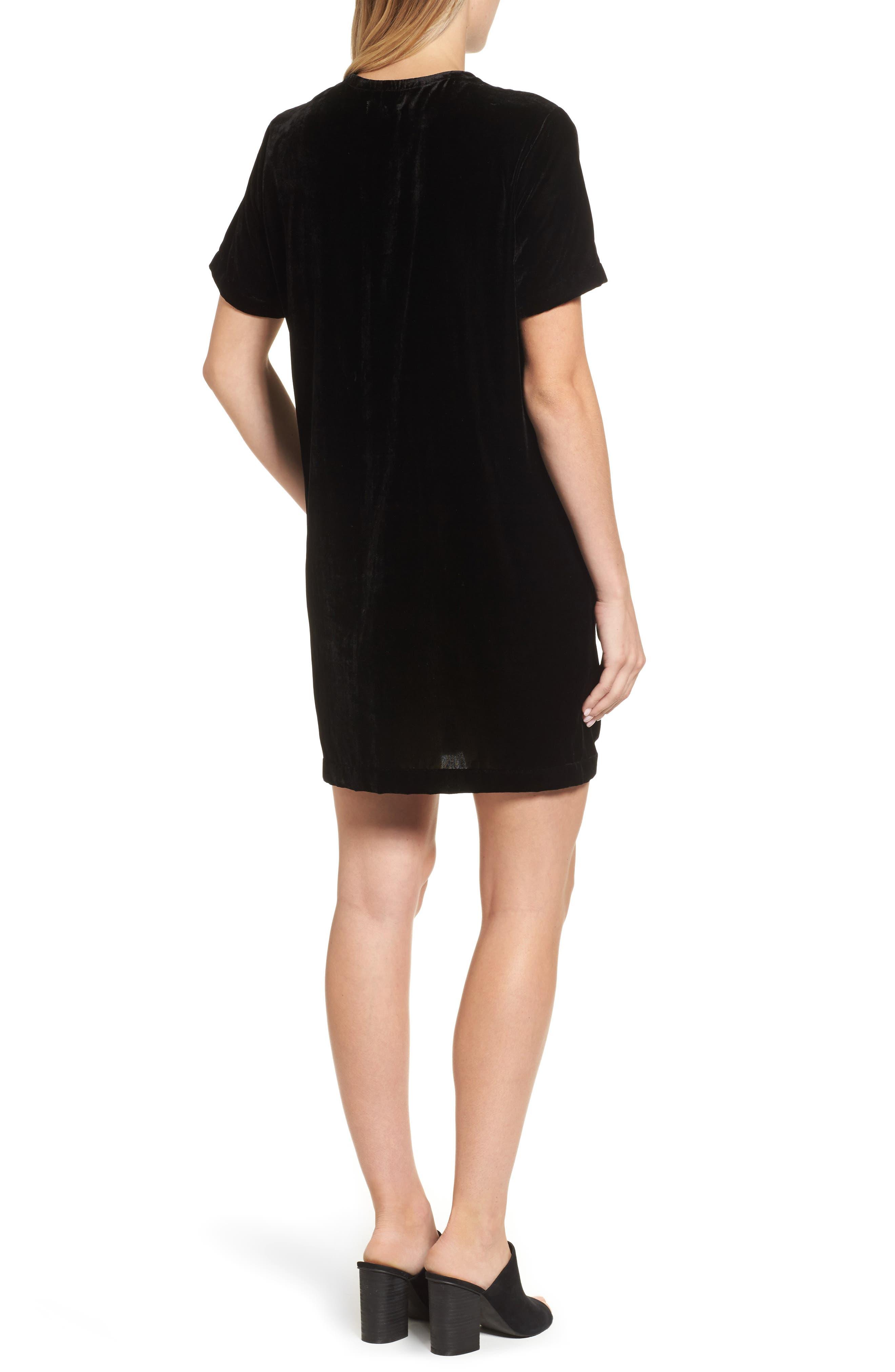 Zip Shoulder Velvet Shift Dress,                             Alternate thumbnail 2, color,                             001