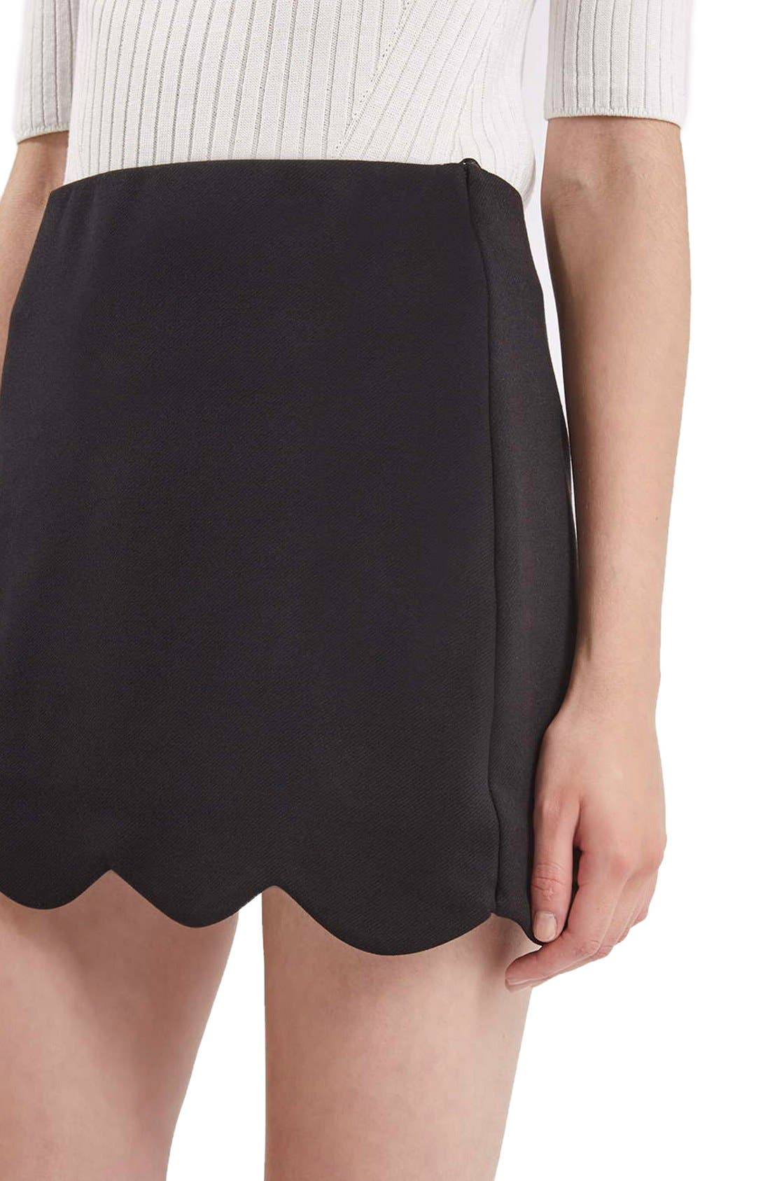 Scallop Hem Miniskirt,                             Alternate thumbnail 2, color,                             001