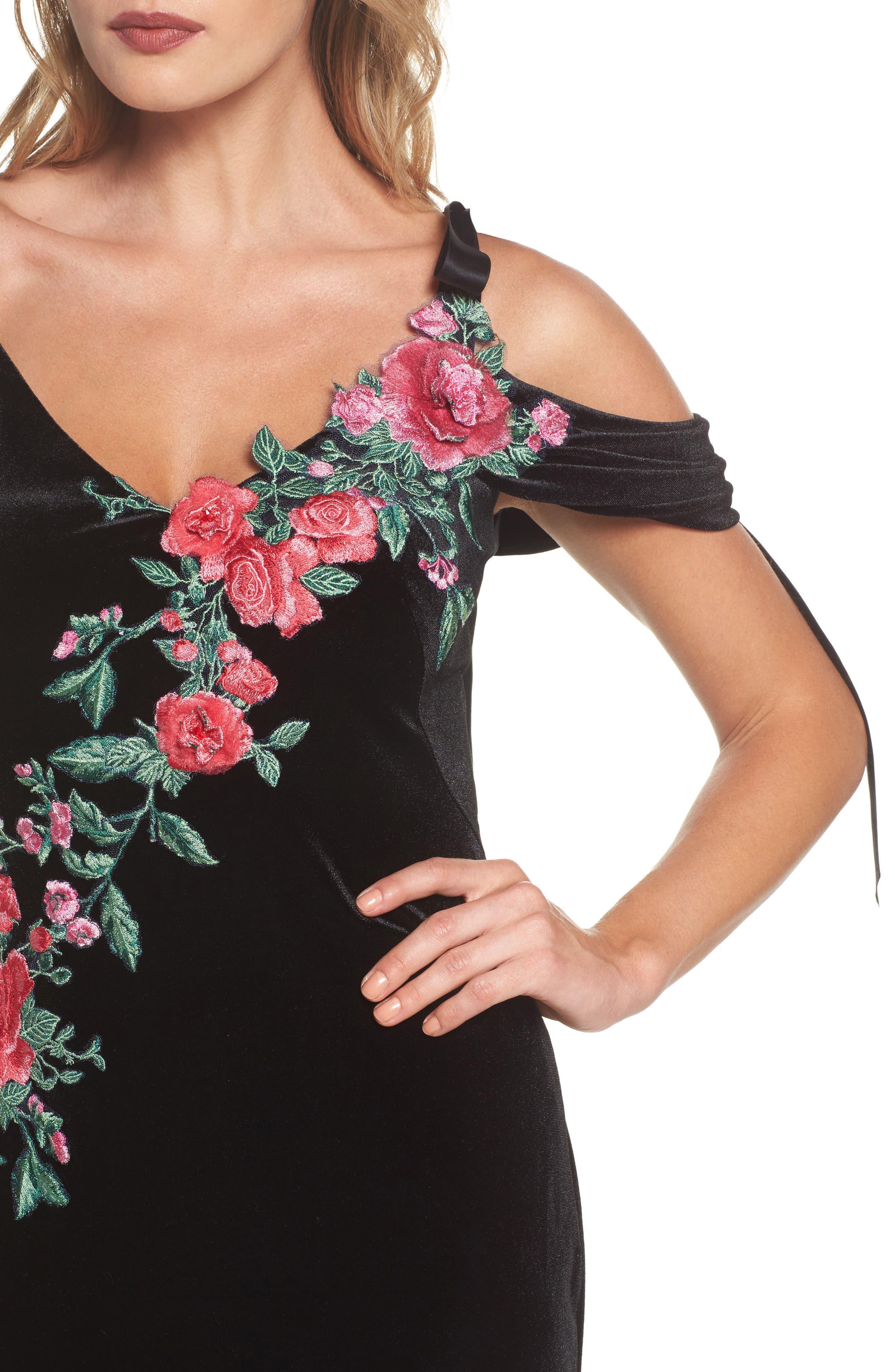 Embroidered Cold Shoulder Velvet Gown,                             Alternate thumbnail 4, color,                             BLACK