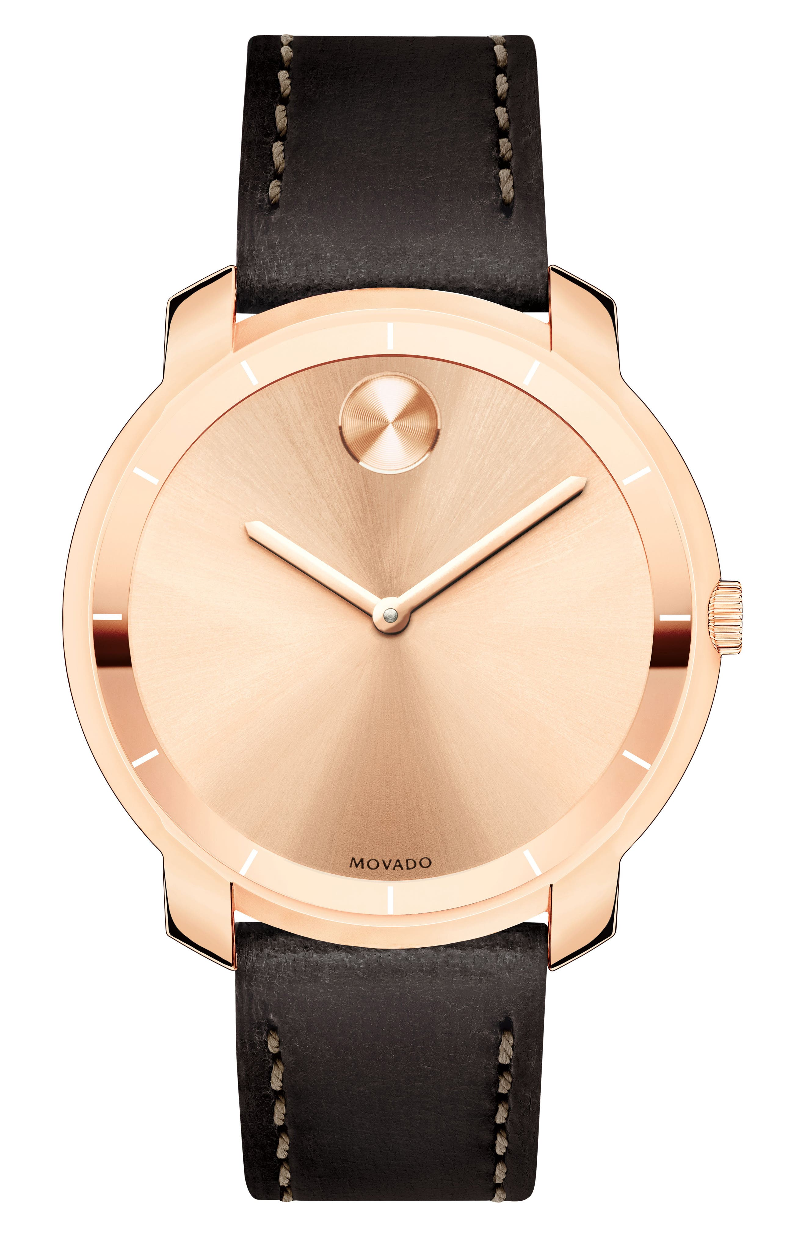 Bold Thin Leather Strap Watch, 36mm,                             Main thumbnail 1, color,                             CHOCOLATE/ ROSE GOLD